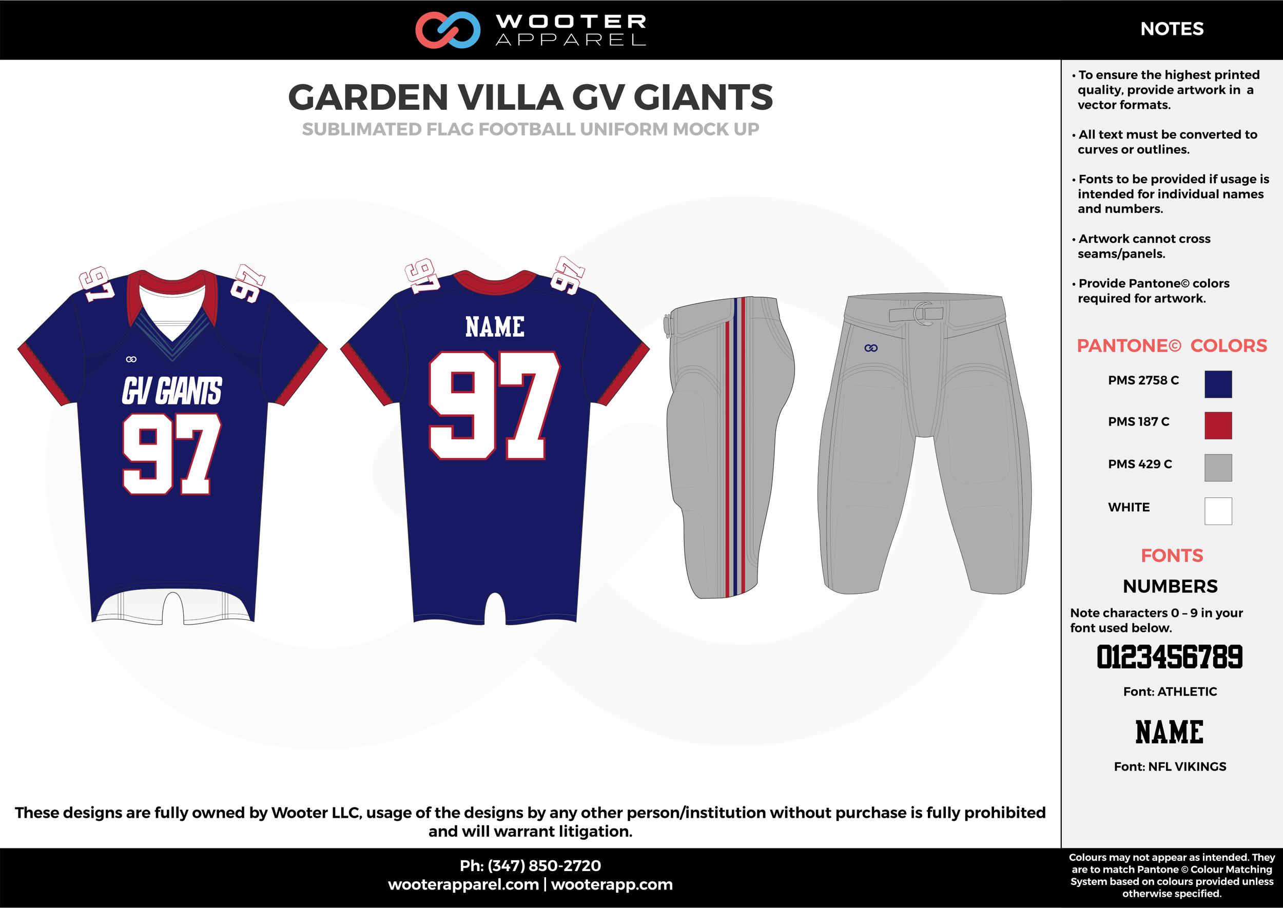GARDEN VILLA GV GIANTS blue gray red white flag football uniforms jerseys pants