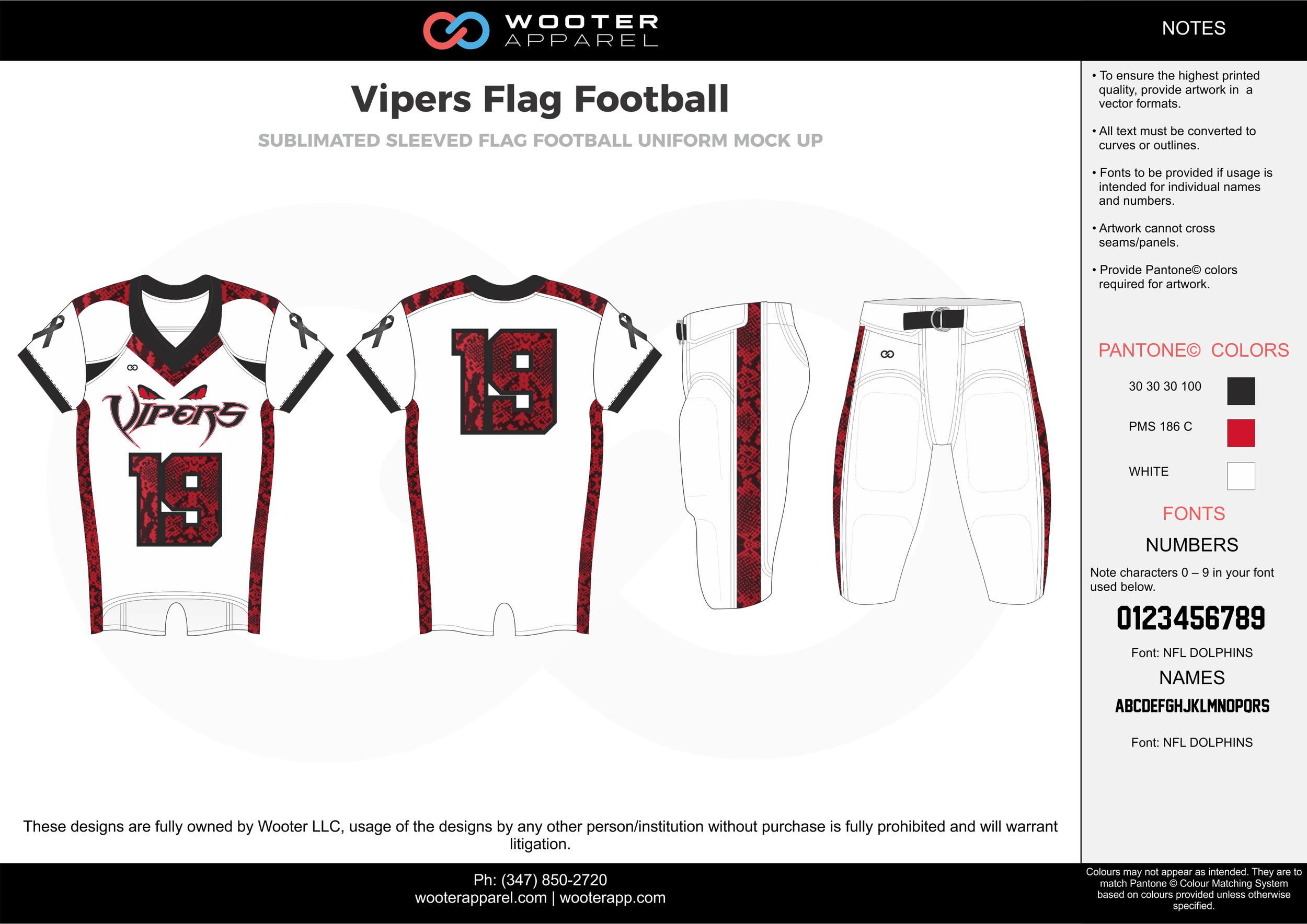 VIPERS Flag Football white maroon flag football uniforms jerseys pants