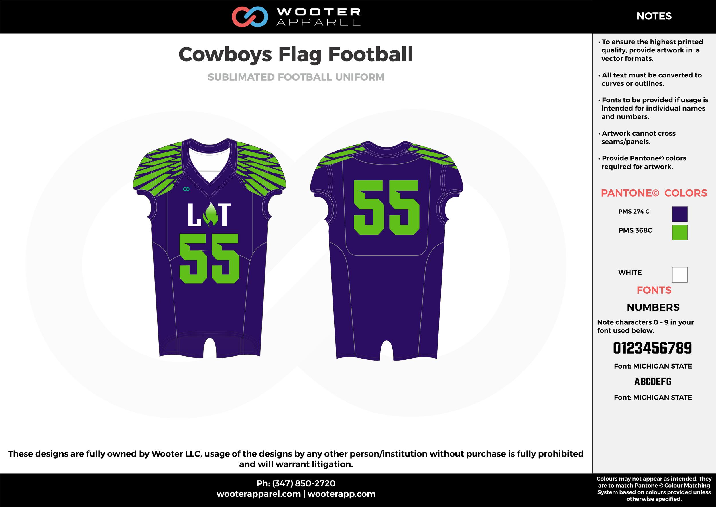 COWBOYS Flag Football blue green flag football uniforms jerseys top