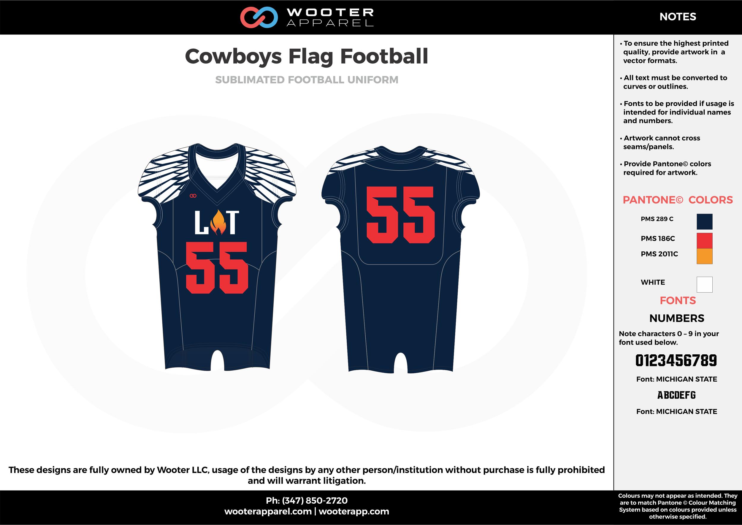 COWBOYS Flag Football navy blue red white flag football uniforms jerseys top