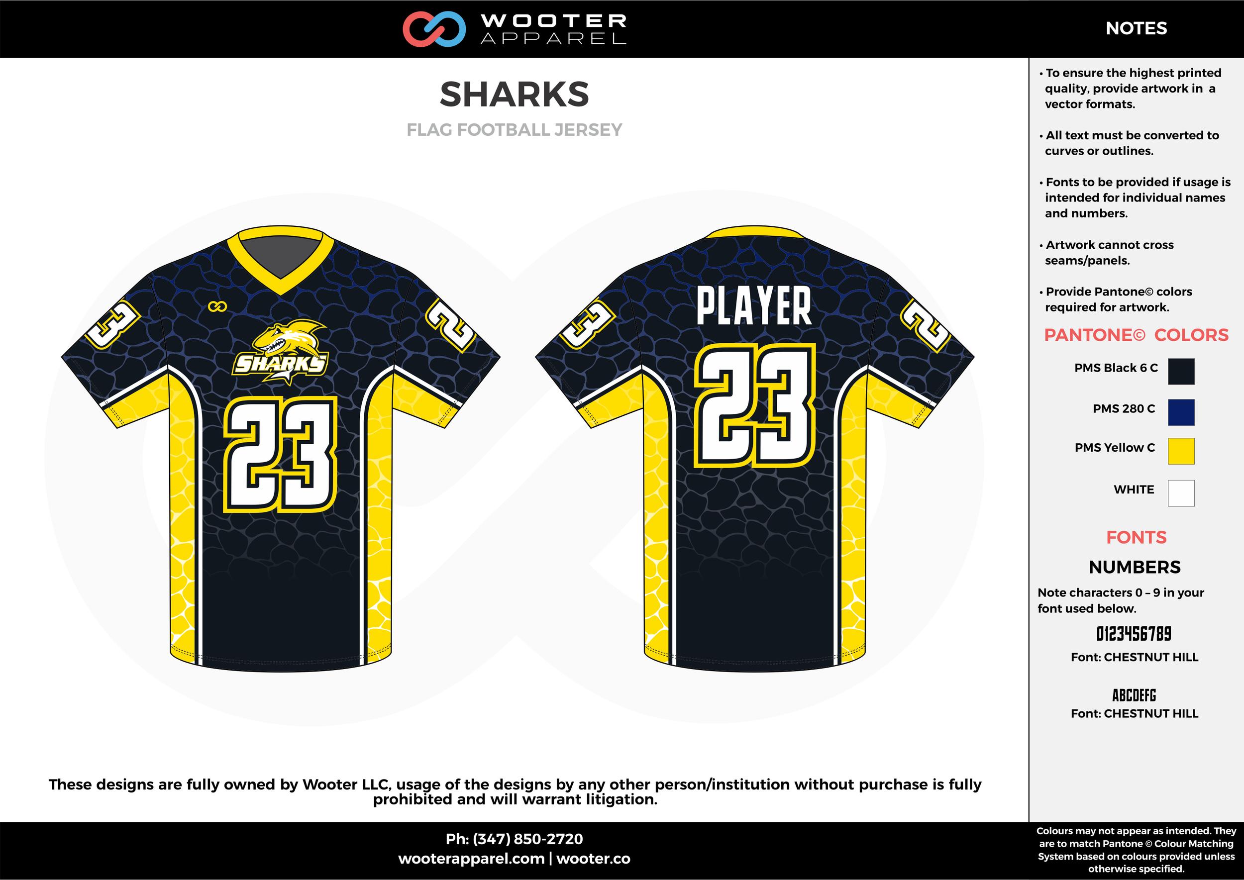 SHARKS black yellow white flag football uniforms jerseys top