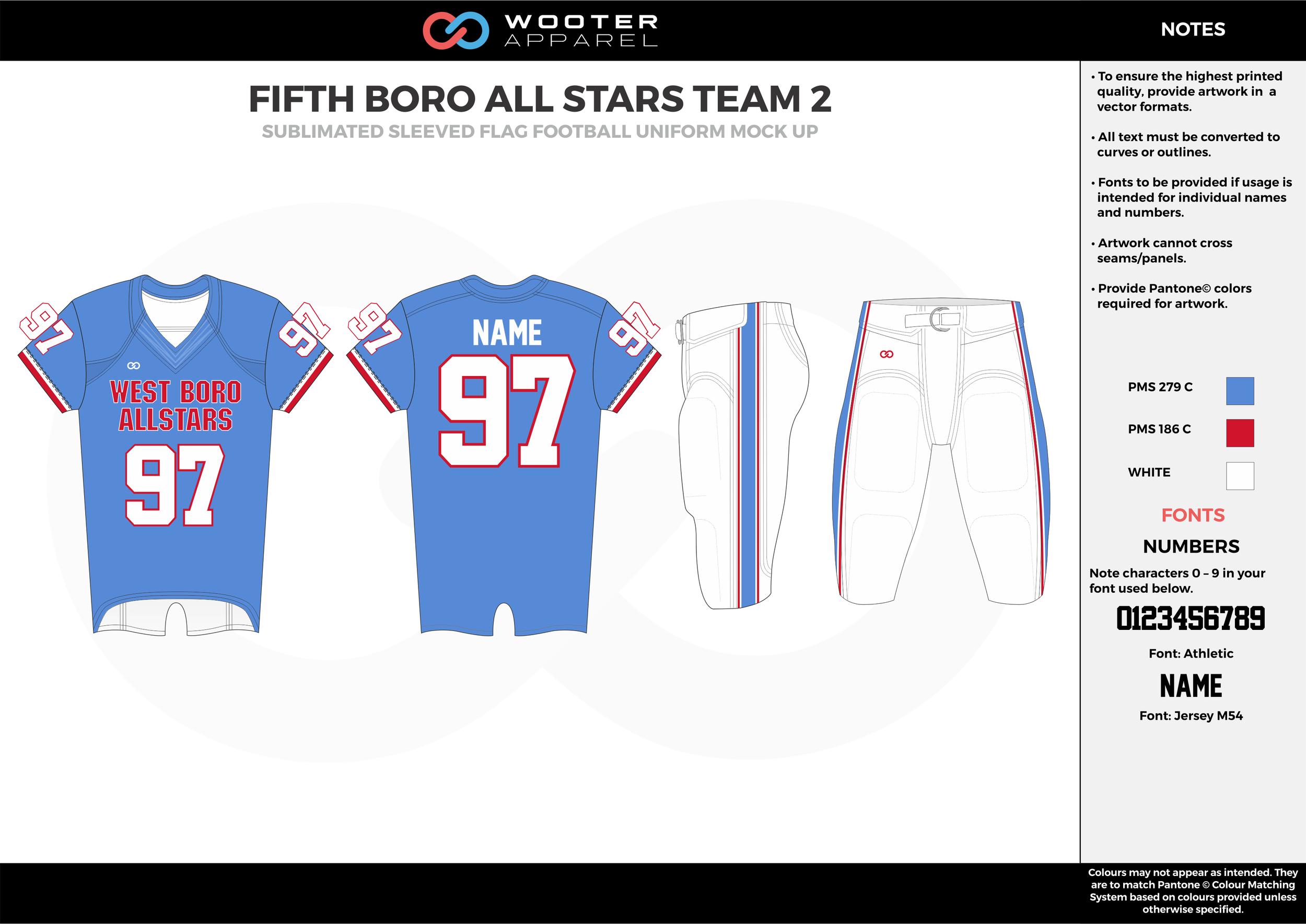 FIFTH BORO ALL STARS TEAM 2 blue red white flag football uniforms jerseys pants