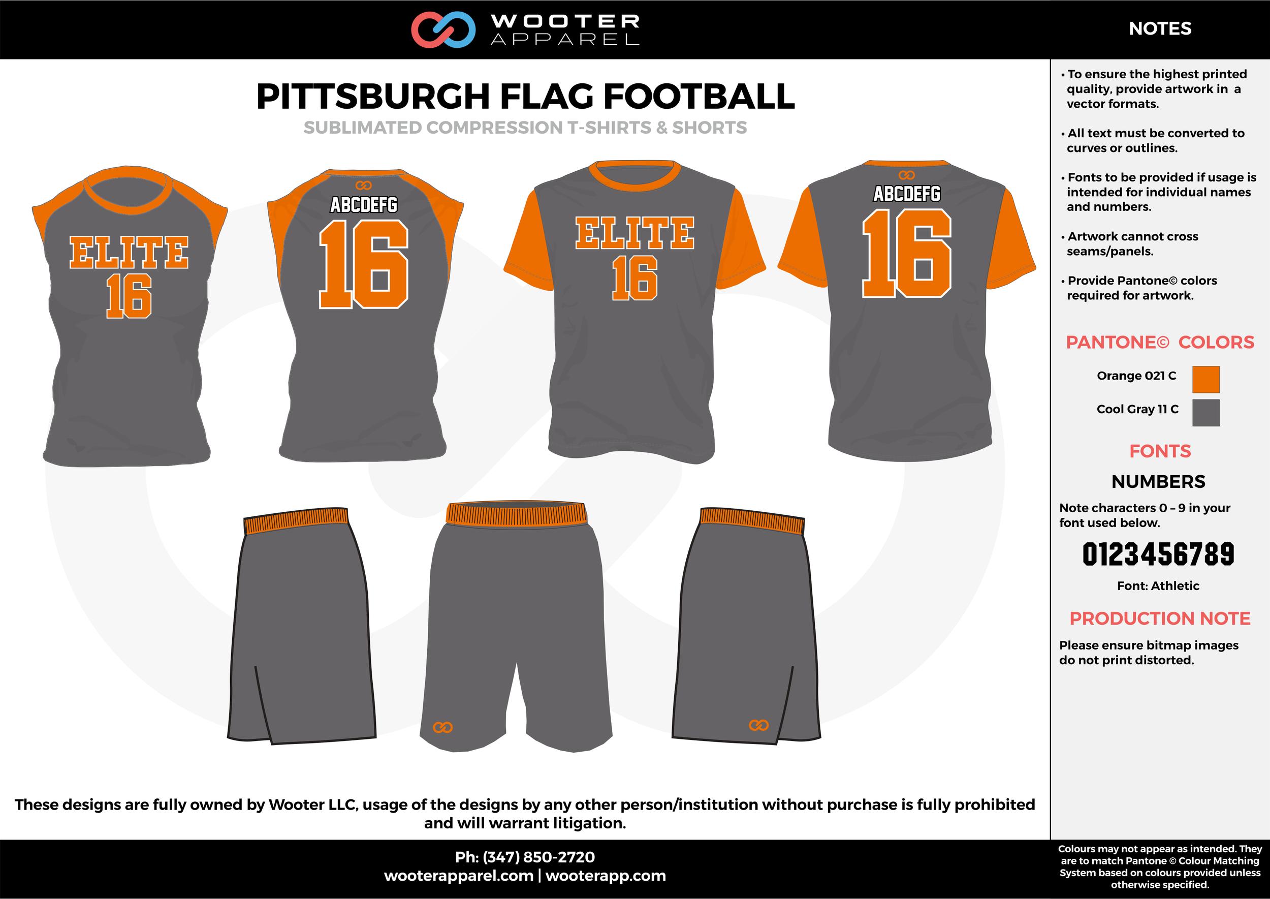 PITTSBURGH FLAG FOOTBALL black orange flag football uniforms jerseys shorts