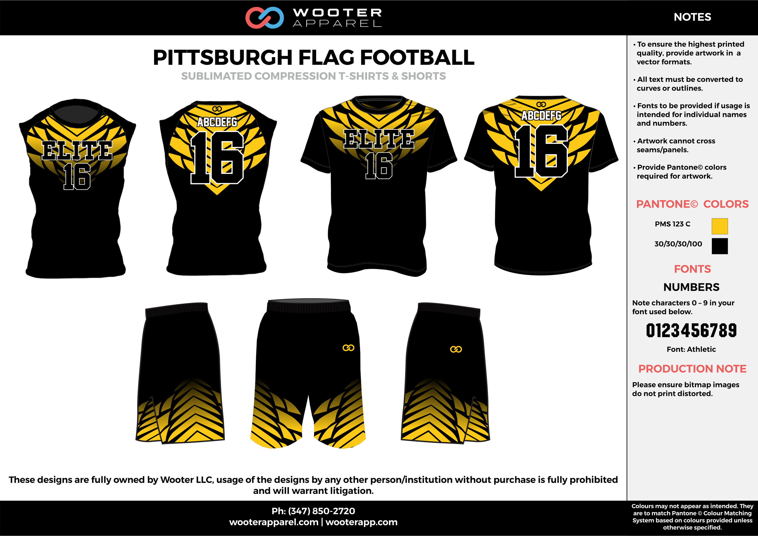 PITTSBURGH FLAG FOOTBALL yellow black flag football uniforms jerseys shorts