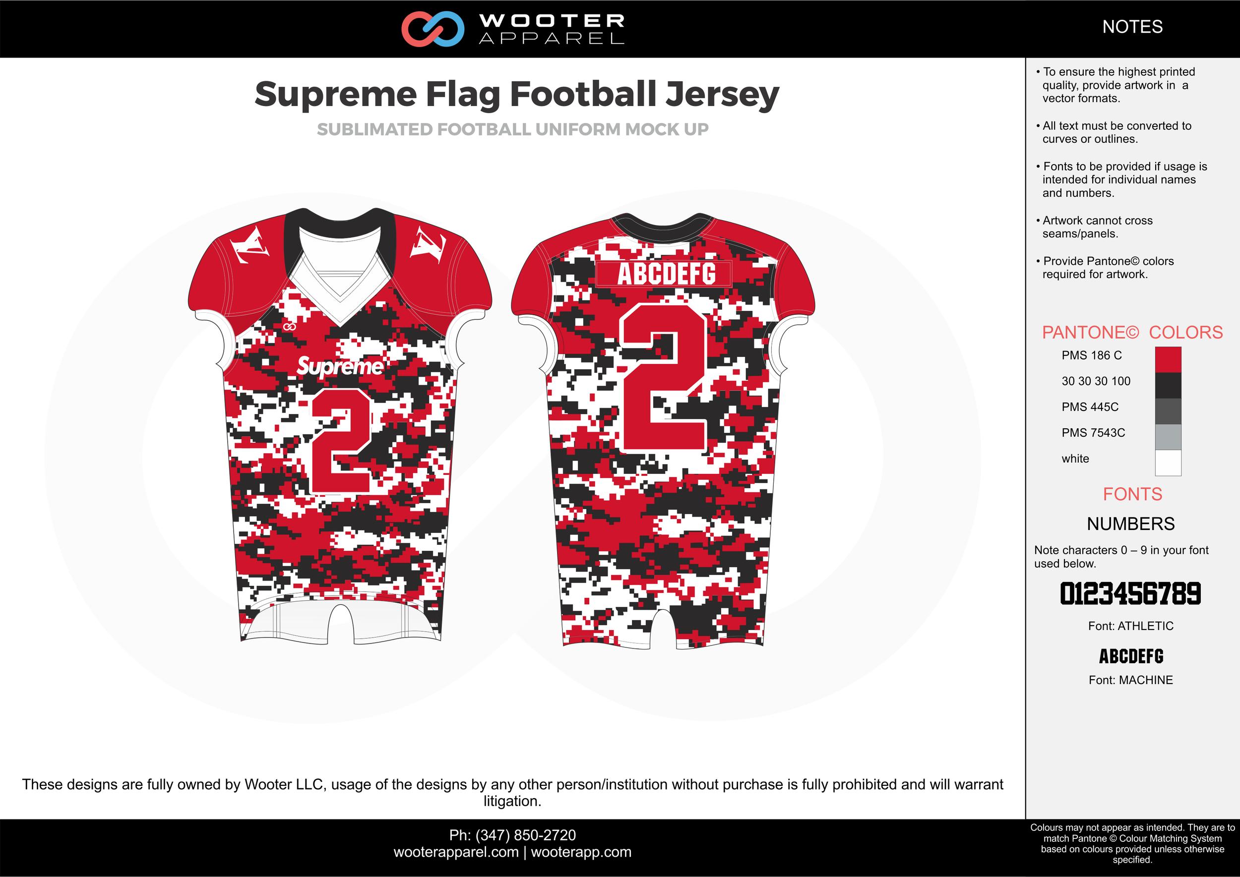 SUPREME FLAG FOOTBALL JERSEY red white black gray flag football uniforms jerseys top
