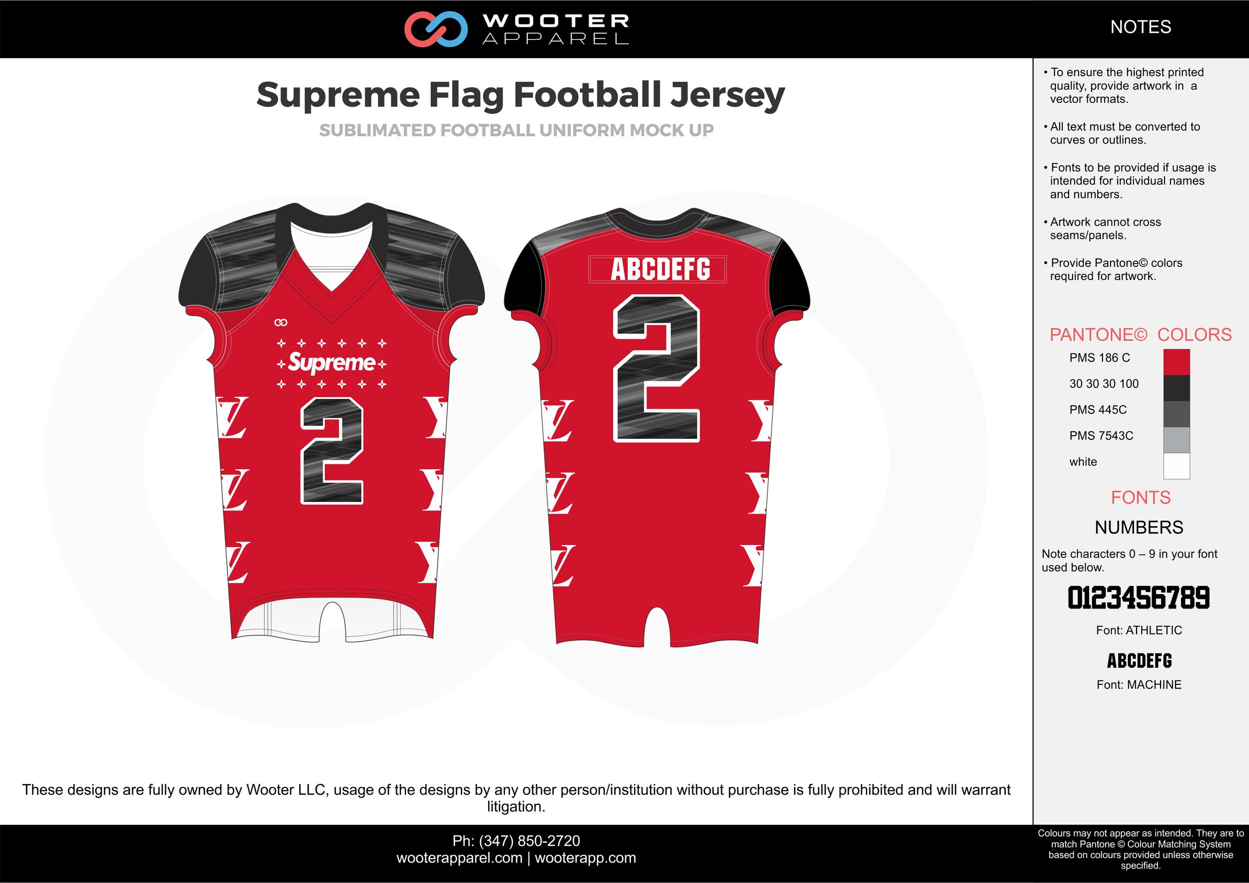 Supreme Flag Football Jersey red black white flag football uniforms jerseys top