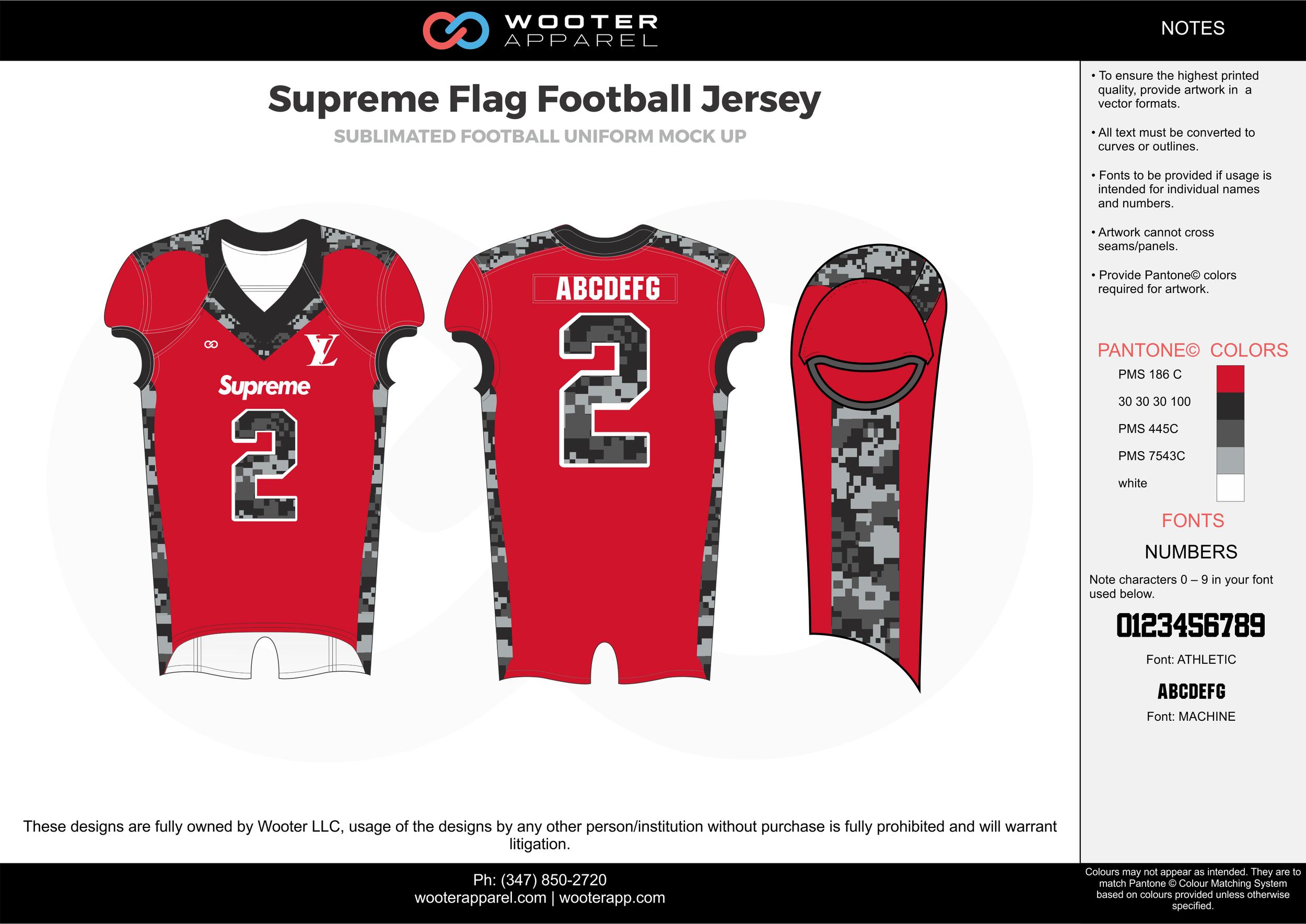 Supreme red black gray white flag football uniforms jerseys top