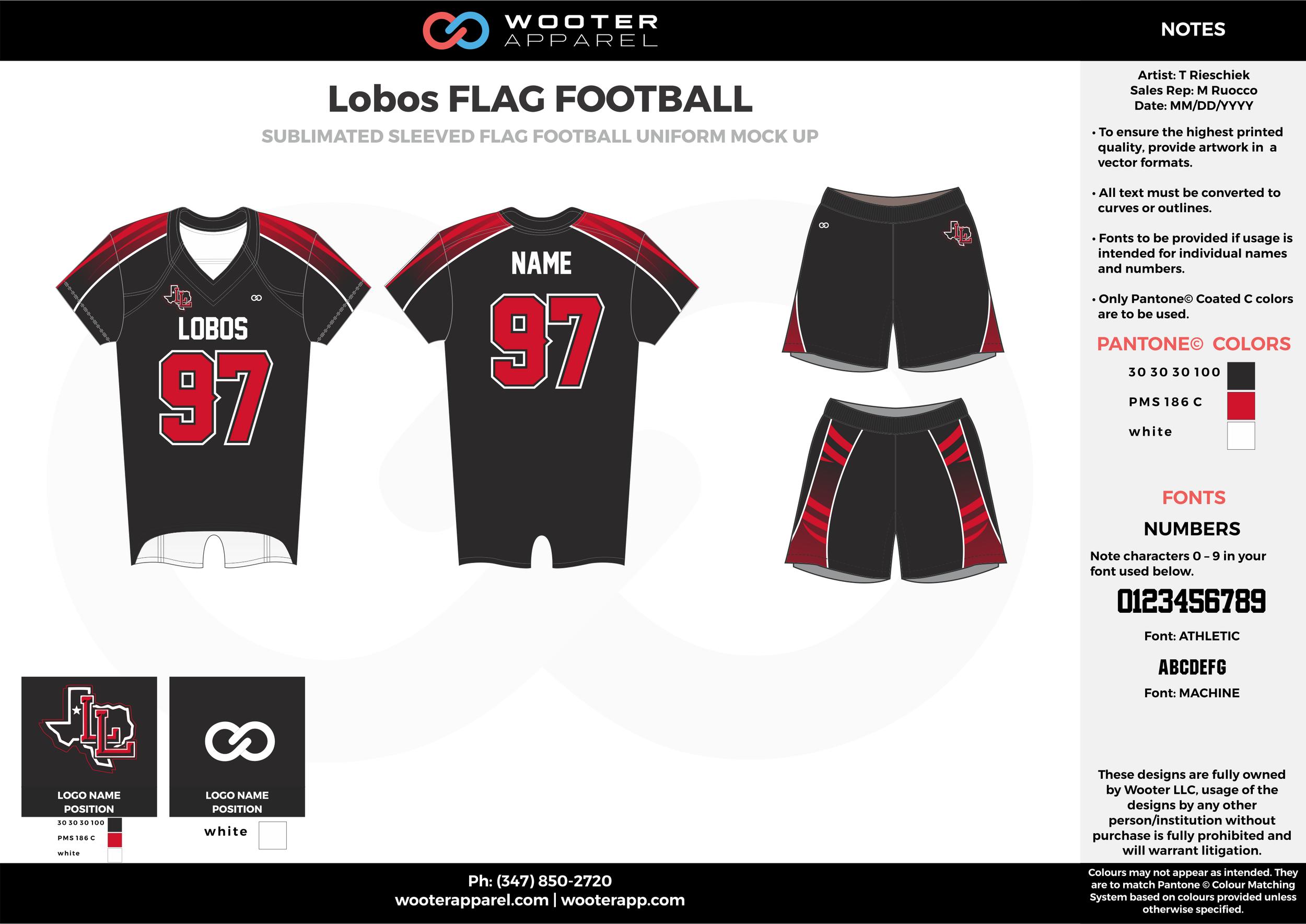 LOBOS Flag Football black red white flag football uniforms jerseys shorts