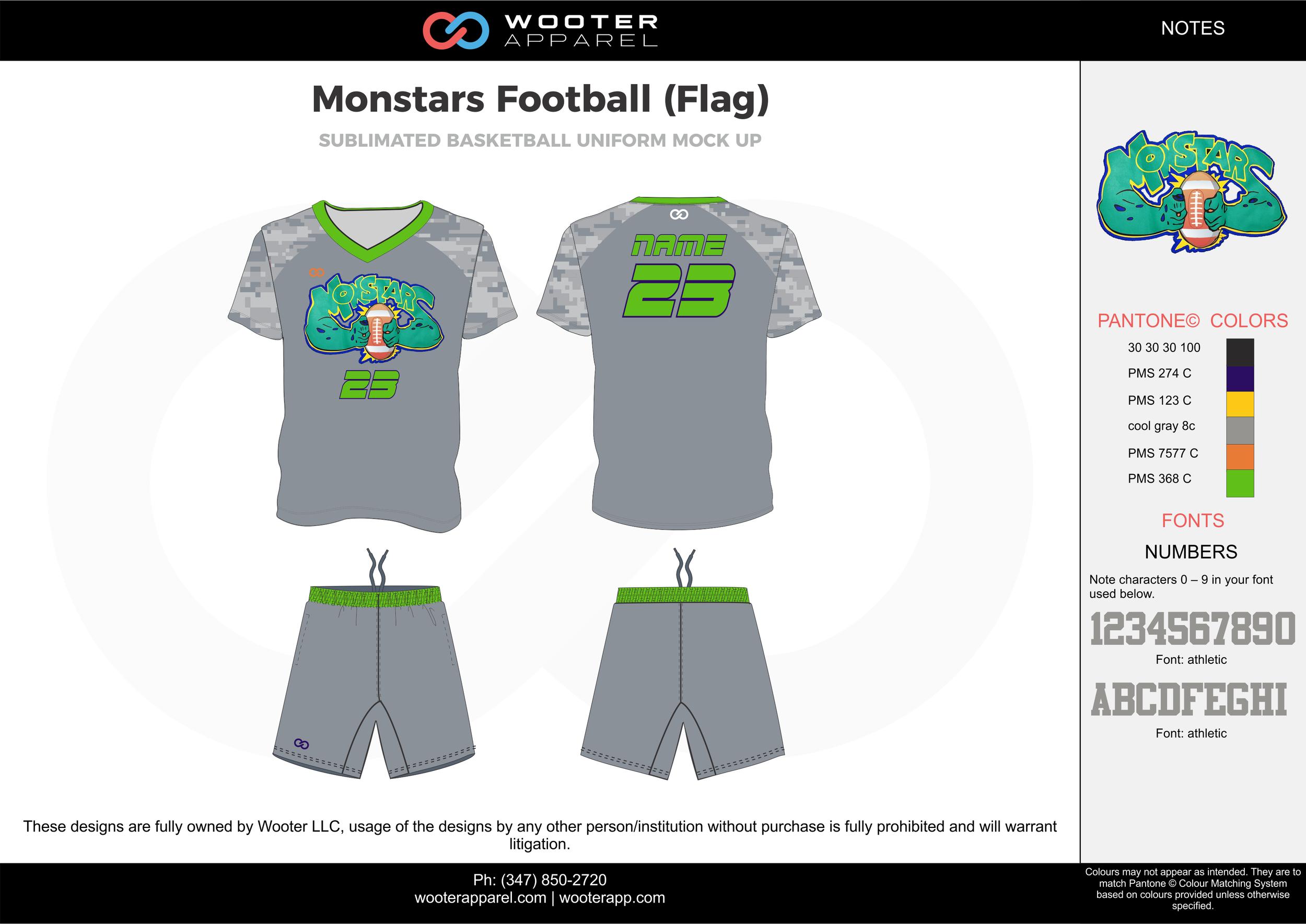 MONSTARS FOOTBALL (FLAG) gray green blue flag football uniforms jerseys shorts