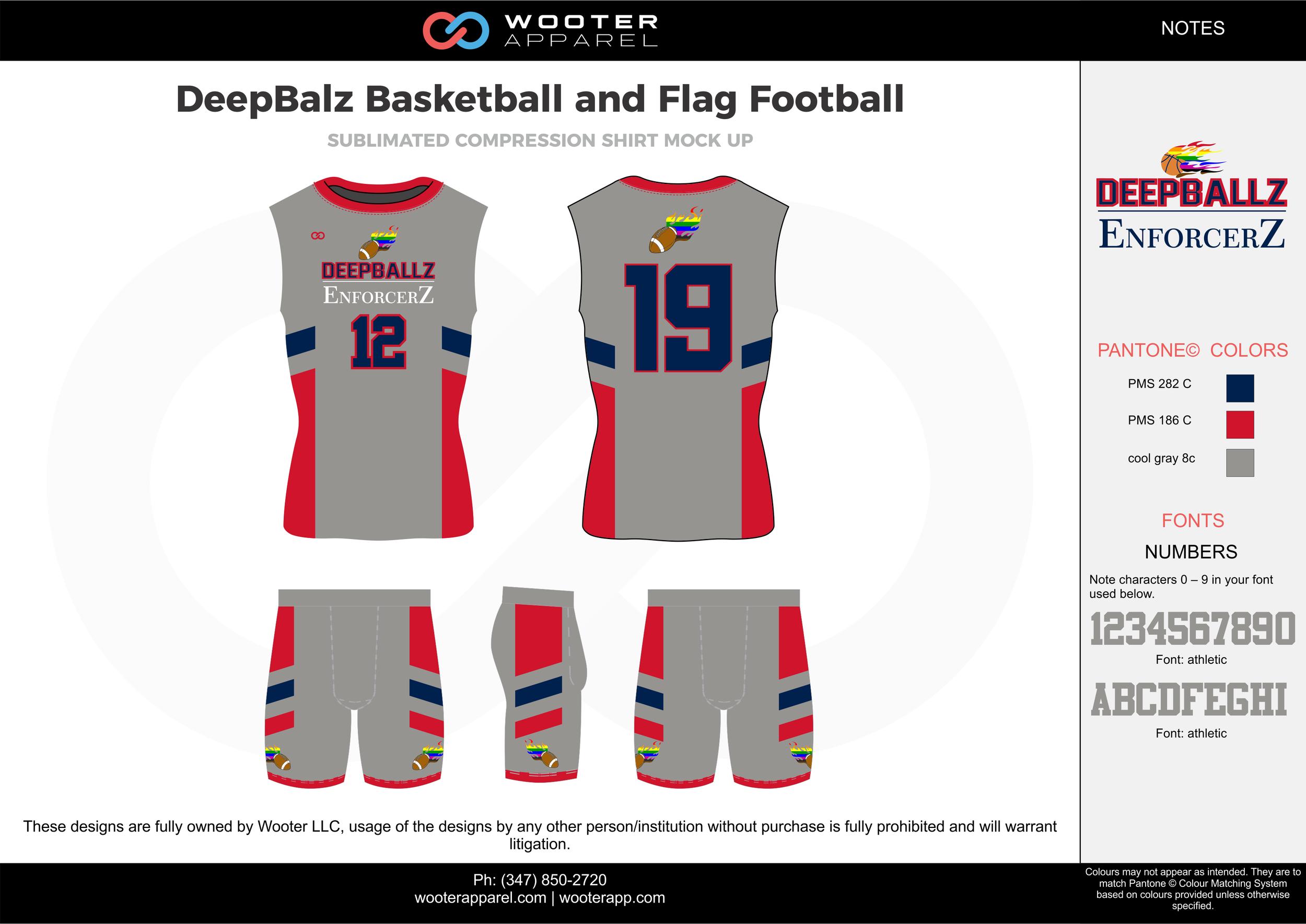 DeepBalz Basketball and Flag Football gray red blue flag football uniforms jerseys shorts