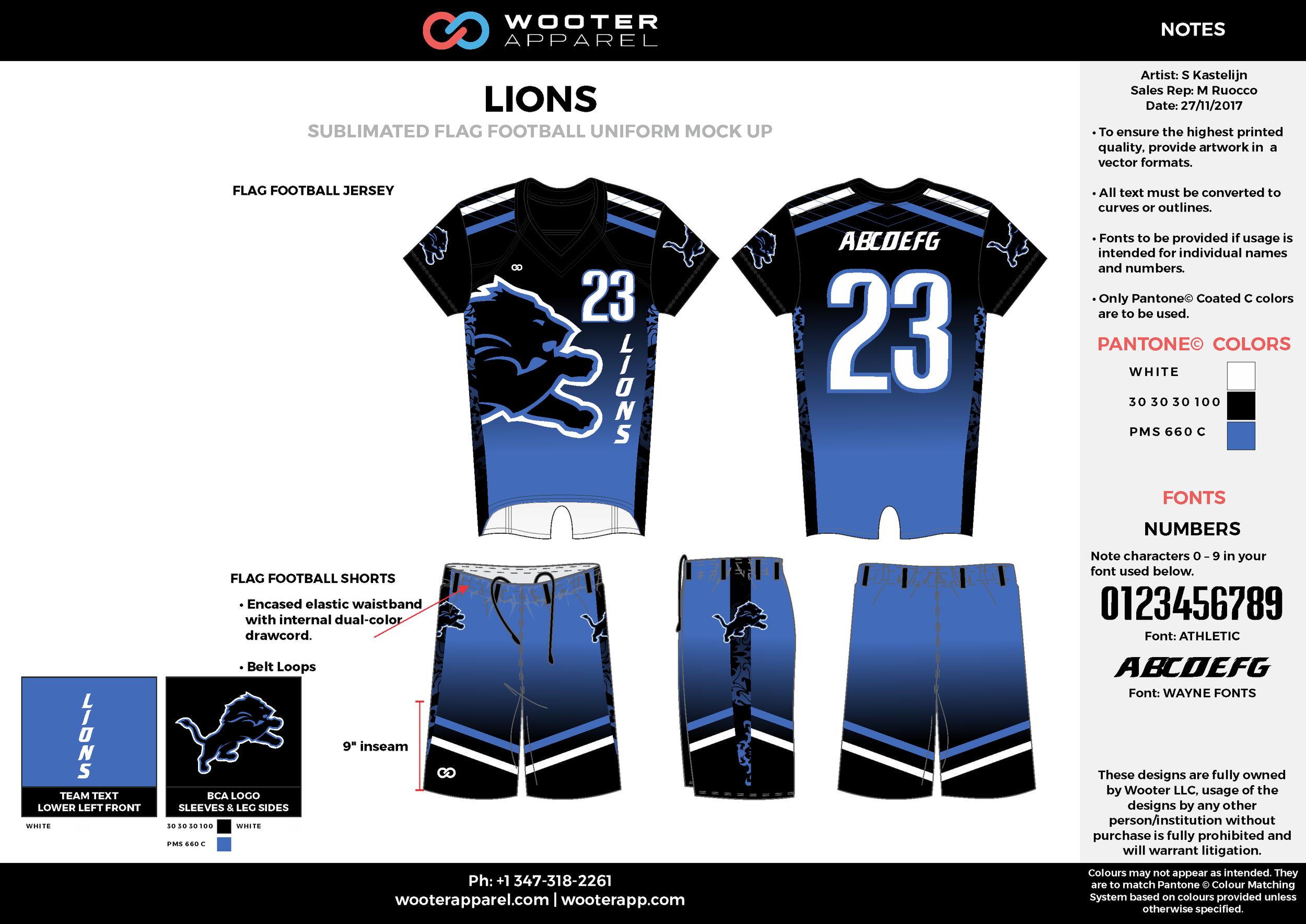 LIONS blue black white flag football uniforms jerseys shorts