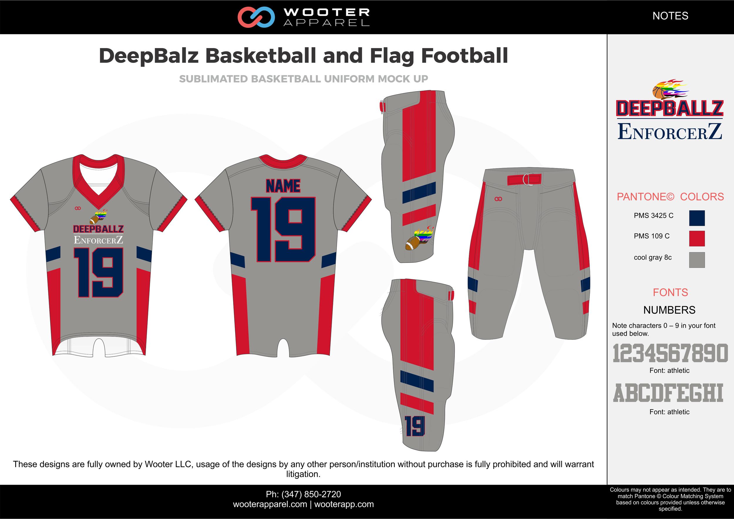 DeepBalz Basketball and Flag Football gray red blue flag football uniforms jerseys pants