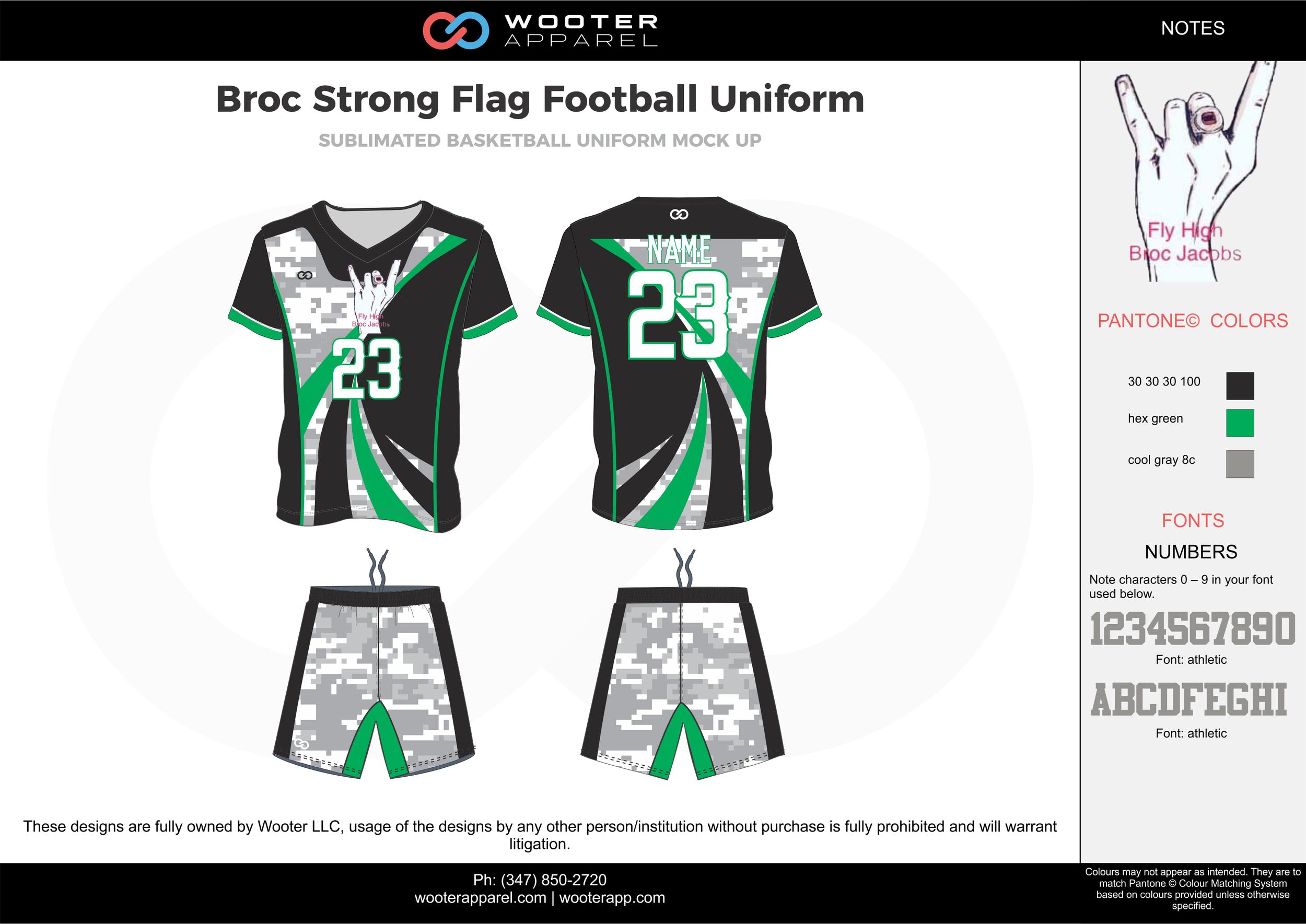 BROC Strong Flag Football Uniform green blue gray white flag football uniforms jerseys shorts