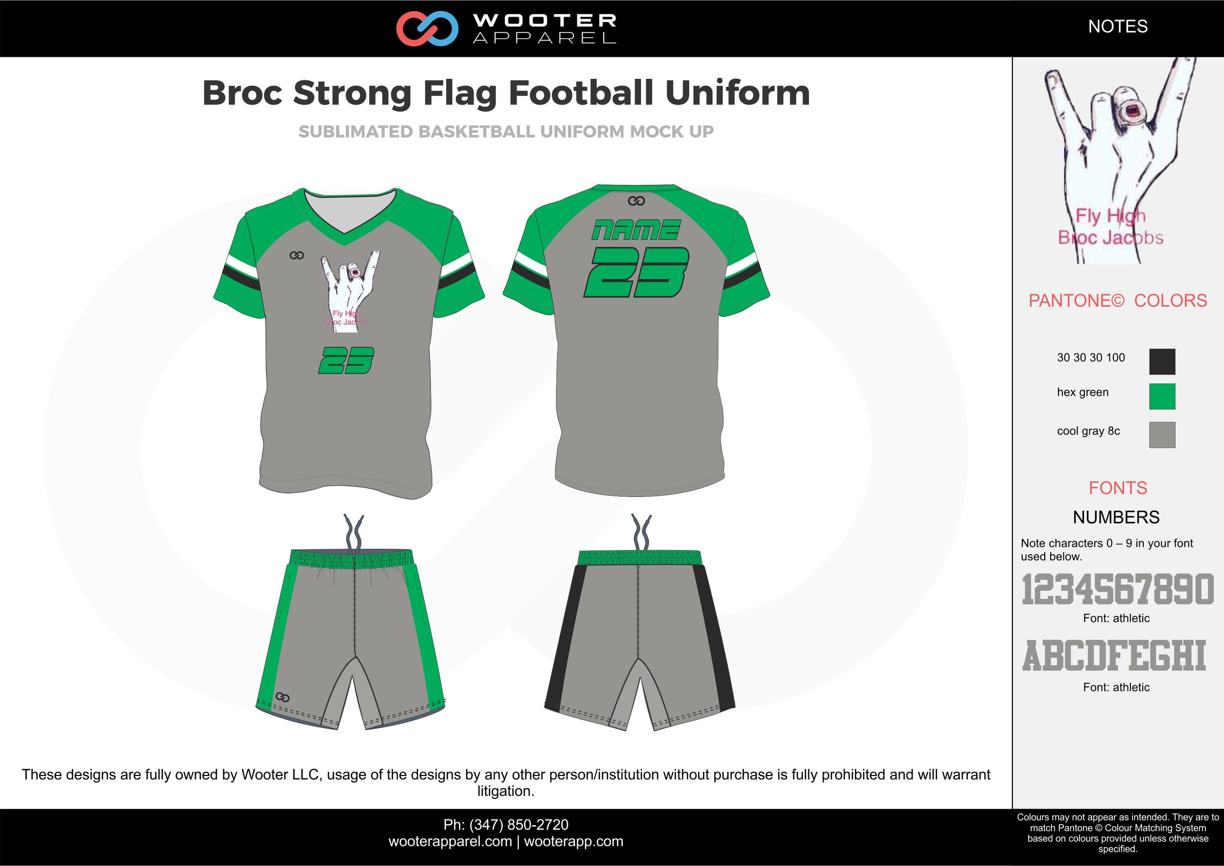 BROC Strong Flag Football Uniform gray green blue flag football uniforms jerseys shorts