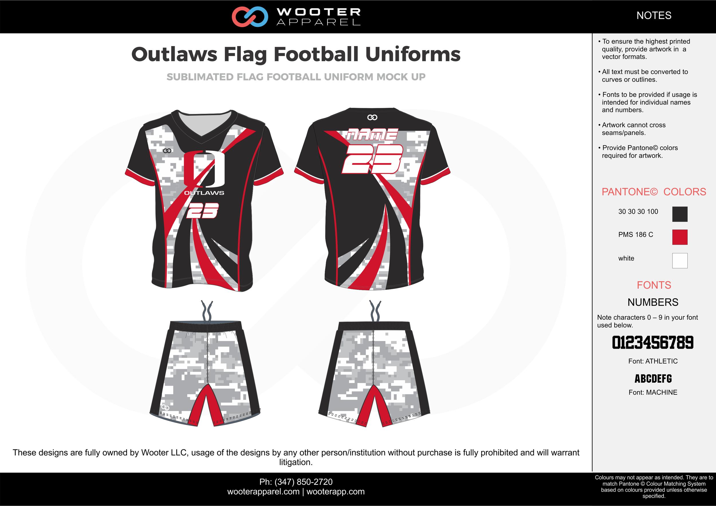 OUTLAWS Flag Football Uniform red gray black white flag football uniforms jerseys shorts
