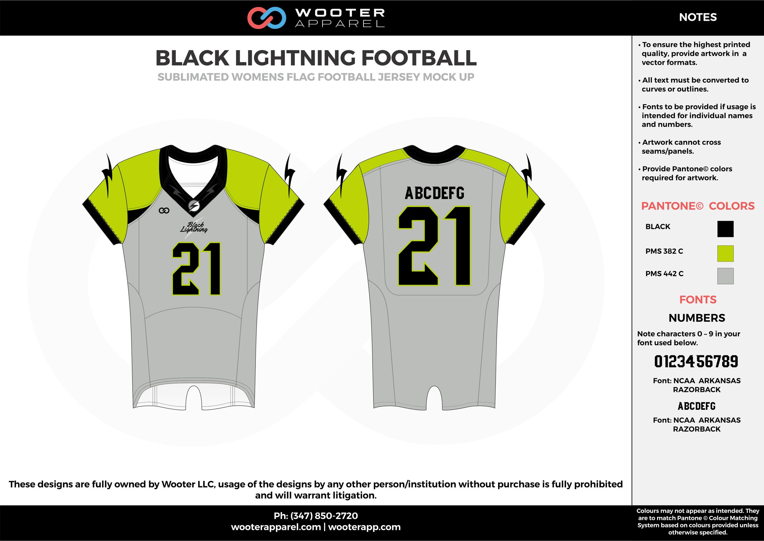 BLACK LIGHTNING FOOTBALL green gray black flag football uniforms jerseys top