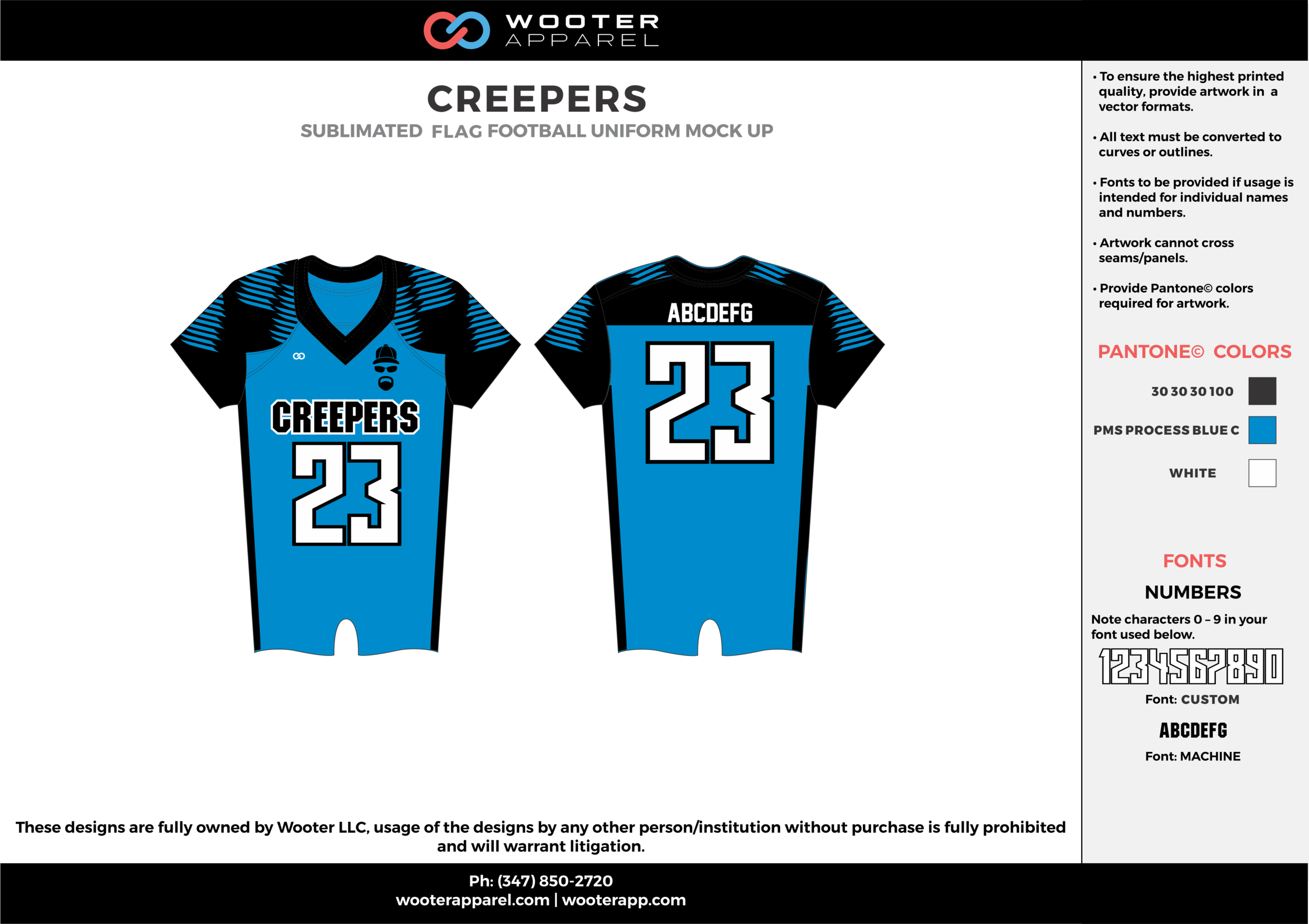CREEPERS blue black white flag football uniforms jerseys top