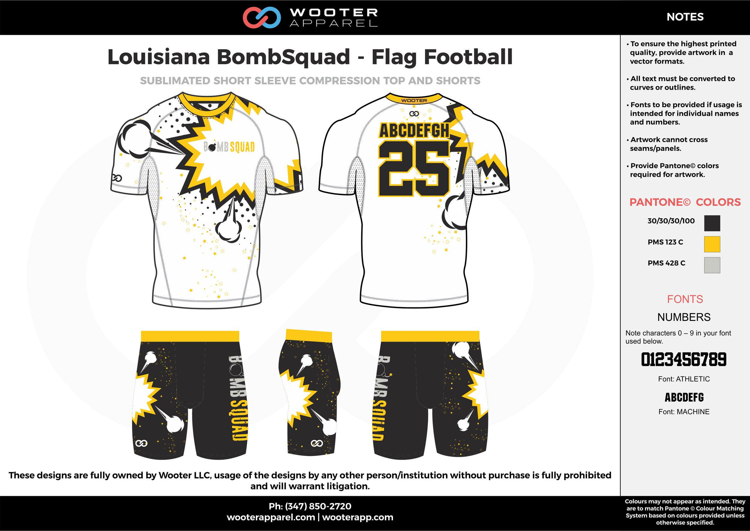 Louisiana BombSquad - Flag Football white black yellow gray flag football uniforms jerseys shorts