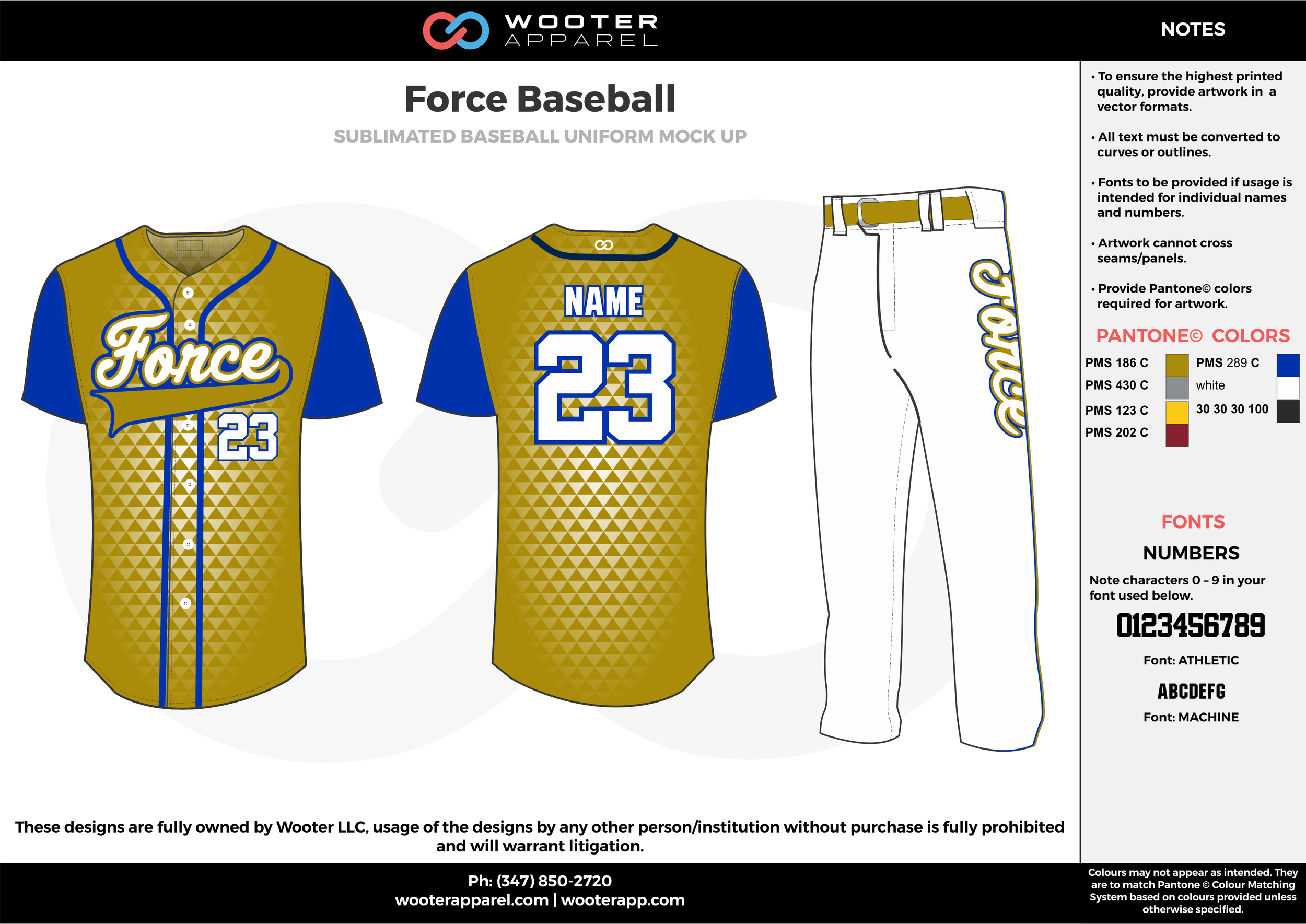 Force Baseball gold blue white baseball uniforms jerseys pants
