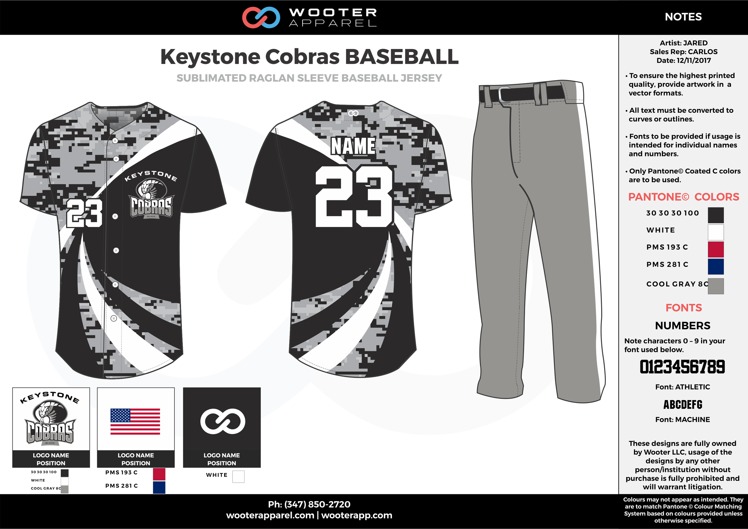 KEYSTONE COBRAS BASEBALL black gray white blue baseball uniforms jerseys pants