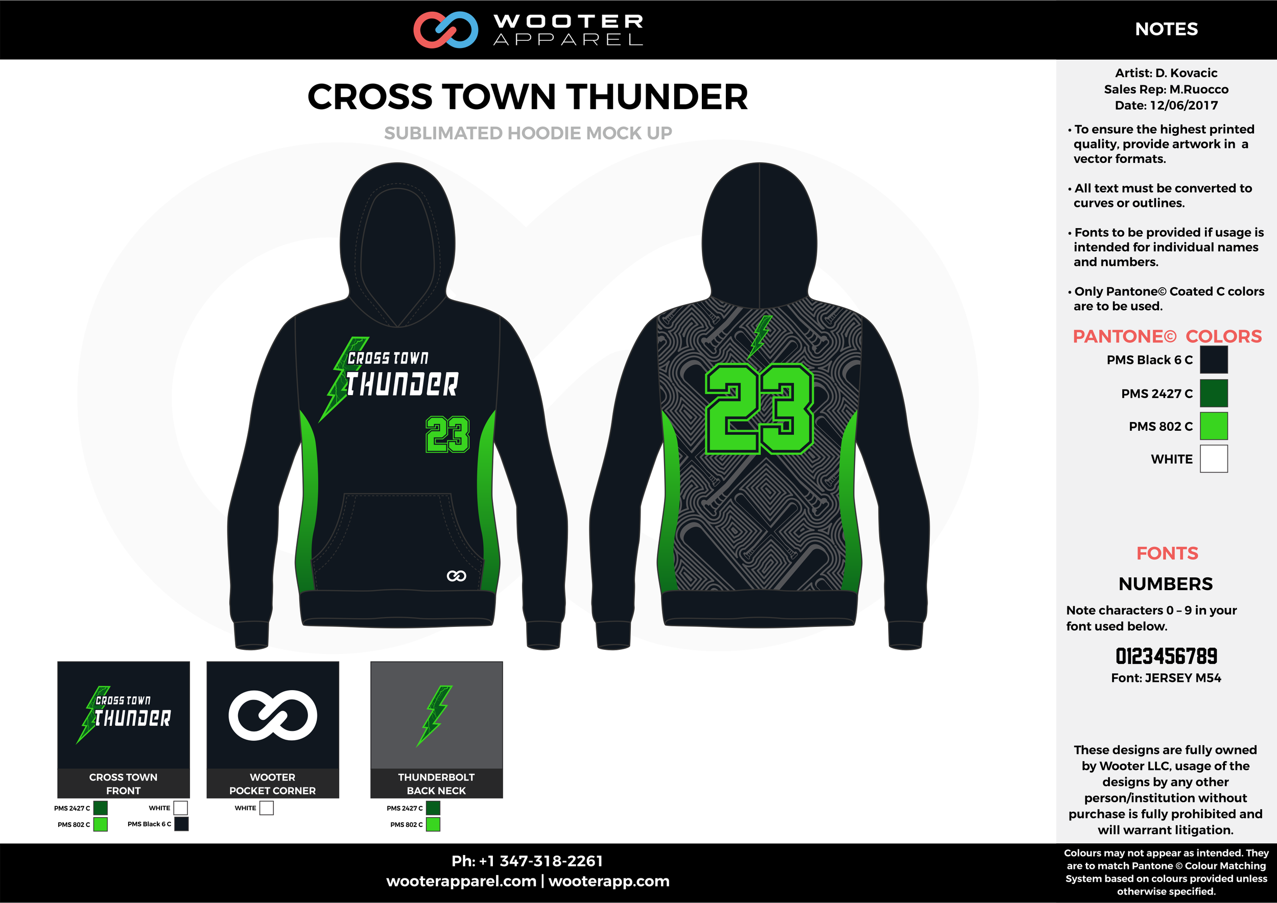CROSS TOWN THUNDER black green white baseball uniforms jerseys hoodie