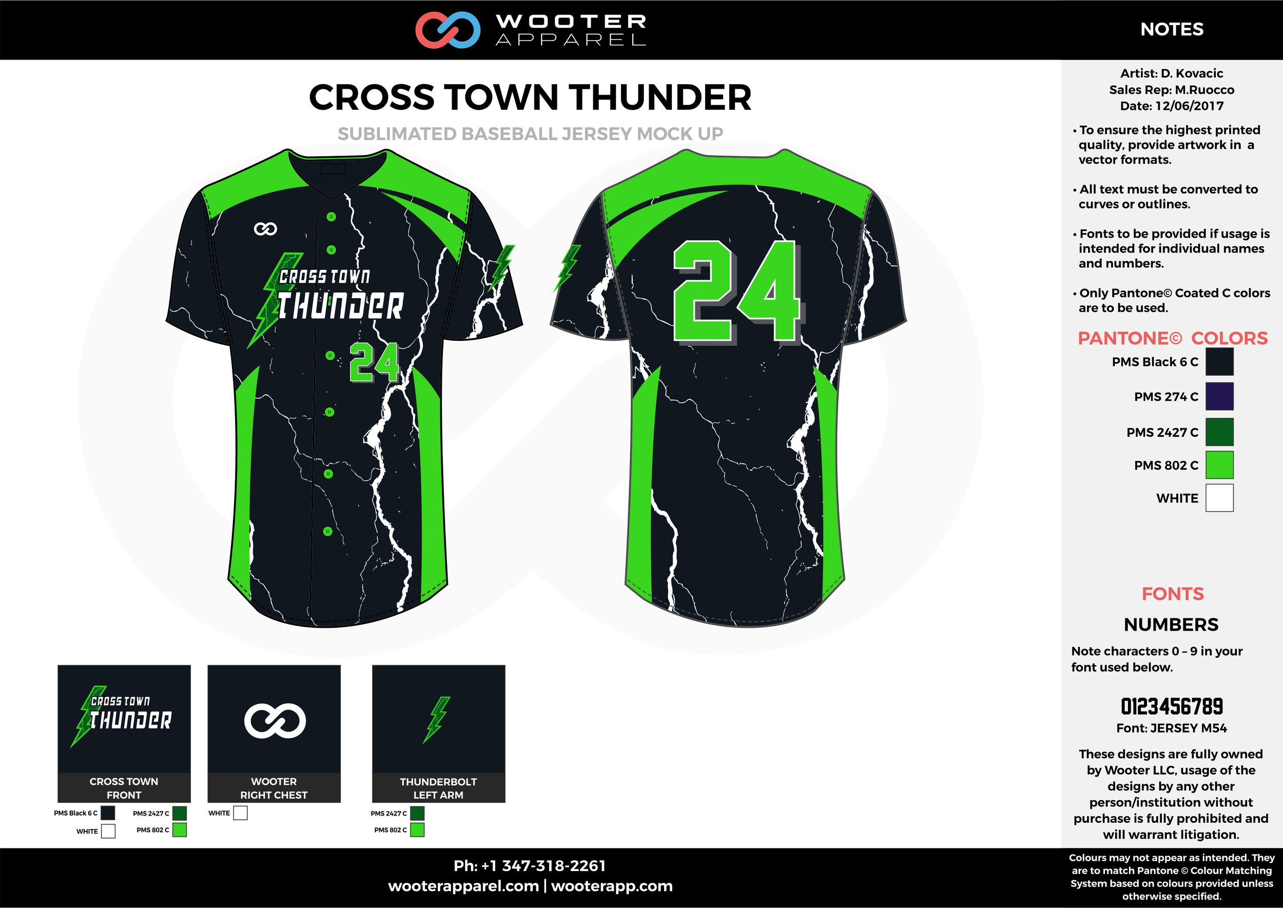 CROSS TOWN THUNDER black blue green white baseball uniforms jerseys tops