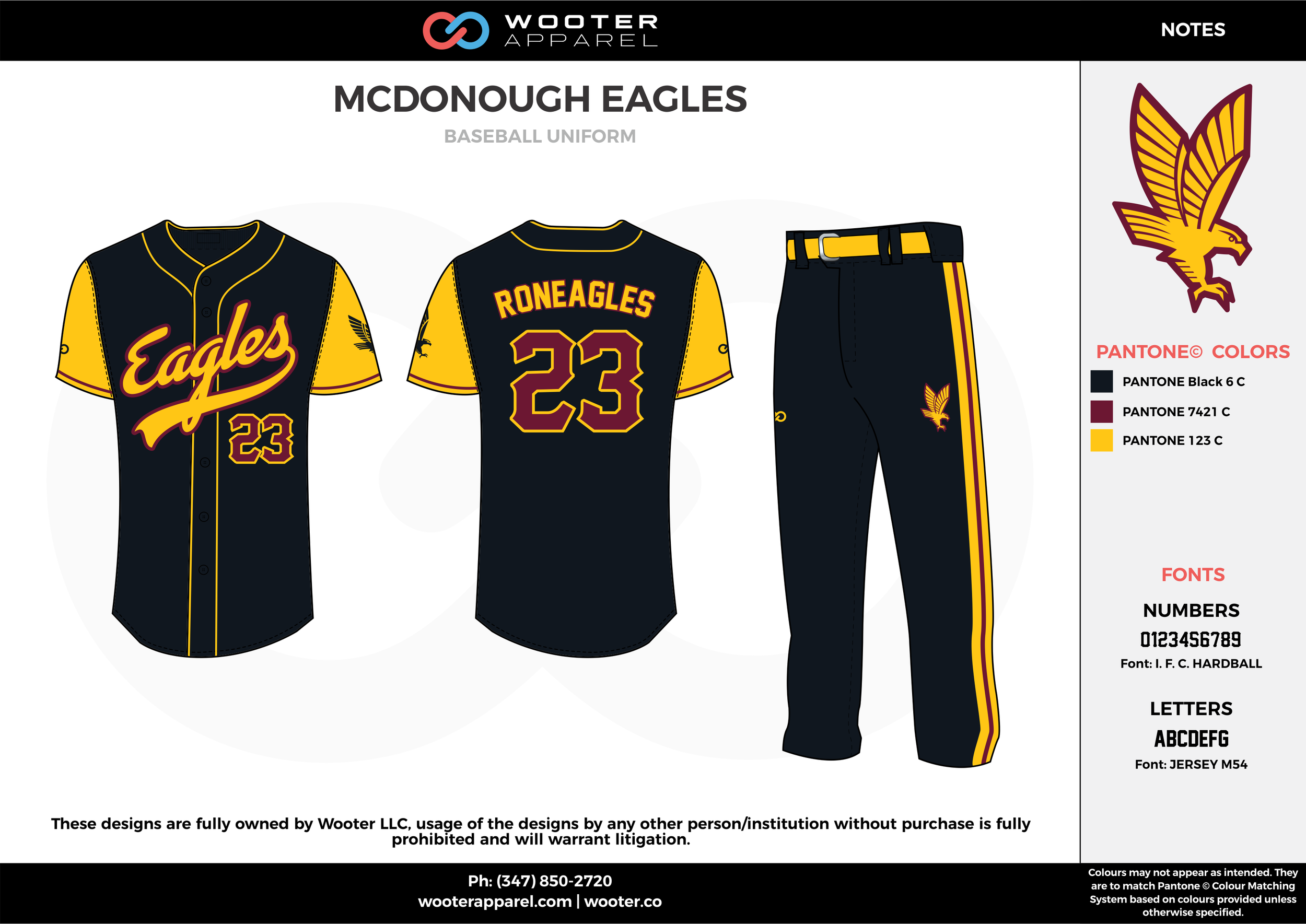 MCDONOUGH EAGLES black maroon yellow baseball uniforms jerseys pants