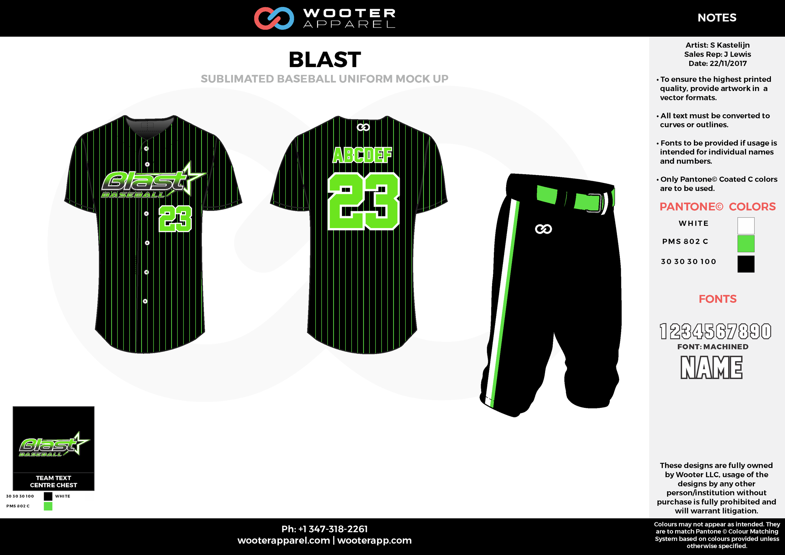 BLAST white green black baseball uniforms jerseys pants