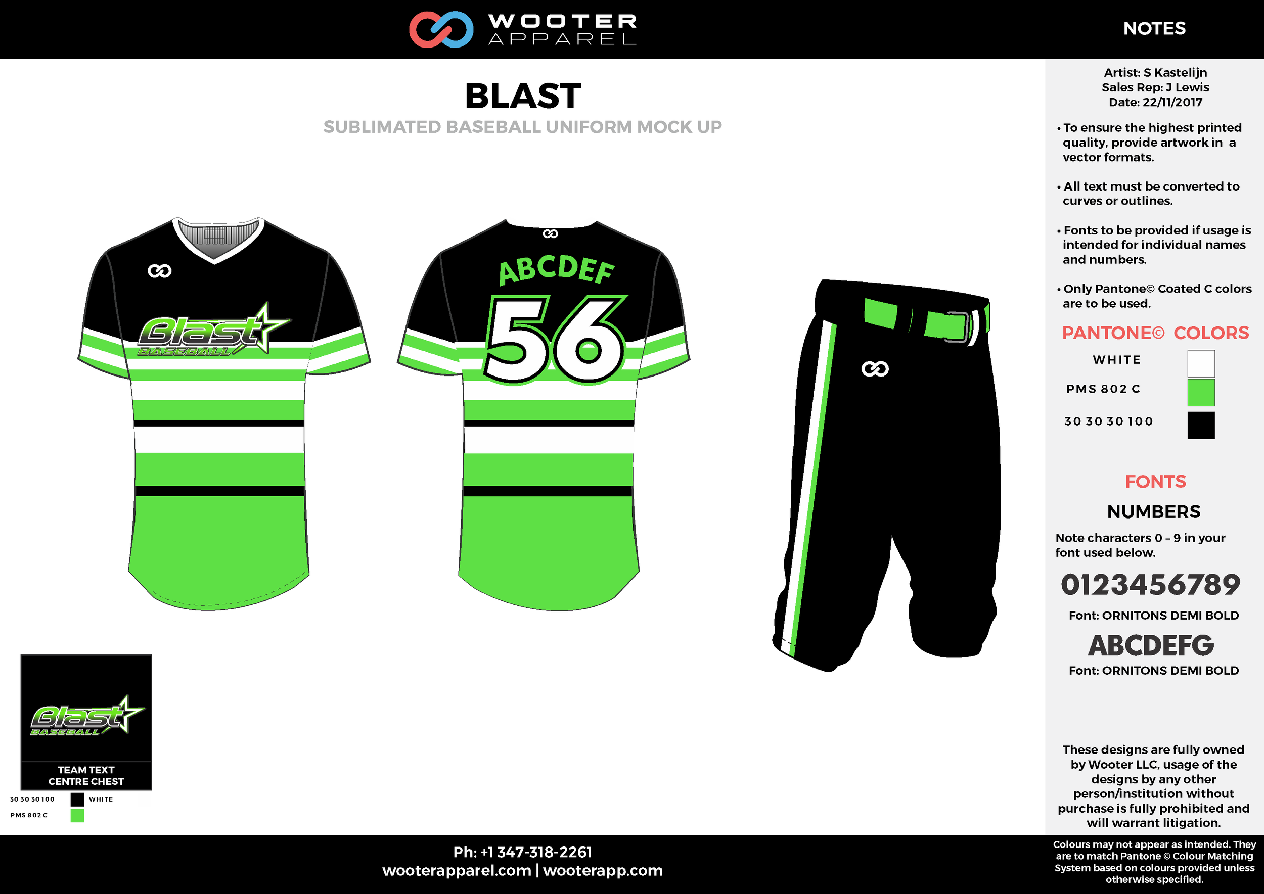 BLAST green black white baseball uniforms jerseys pants