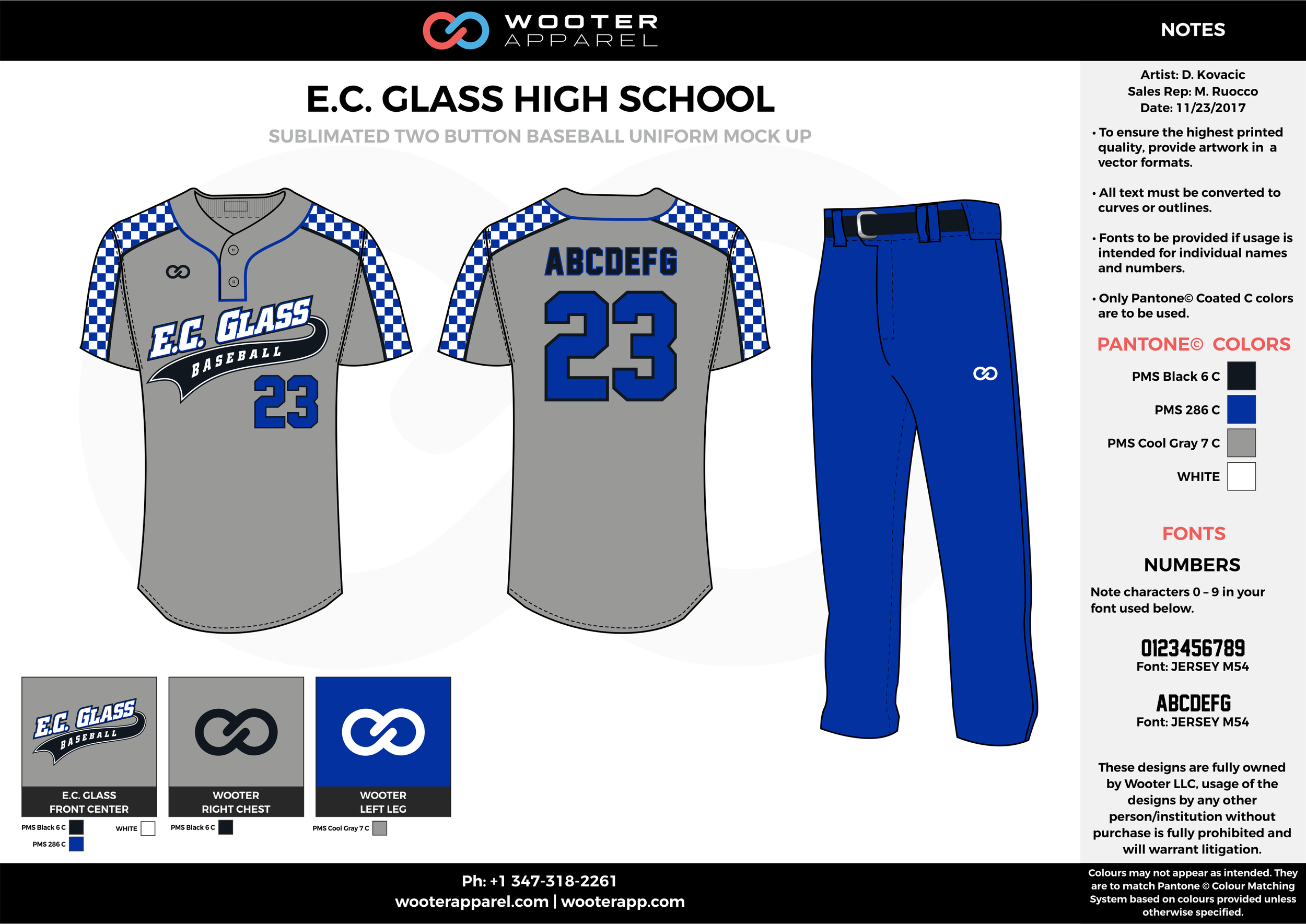 E.C. GLASS HIGH SCHOOL black blue gray white baseball uniforms jerseys pants