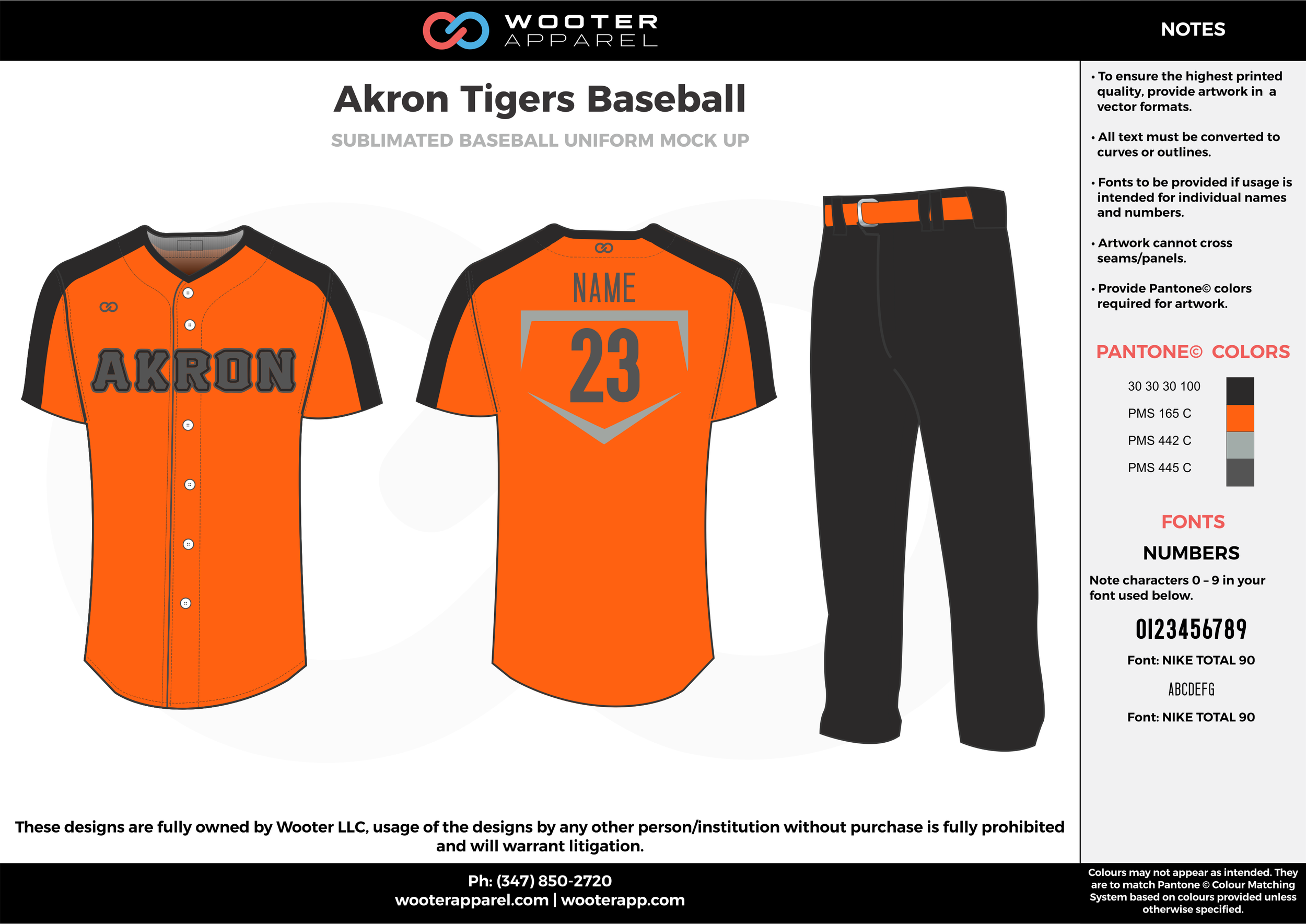 AKRON TIGERS BASEBALL orange black gray baseball uniforms jerseys pants