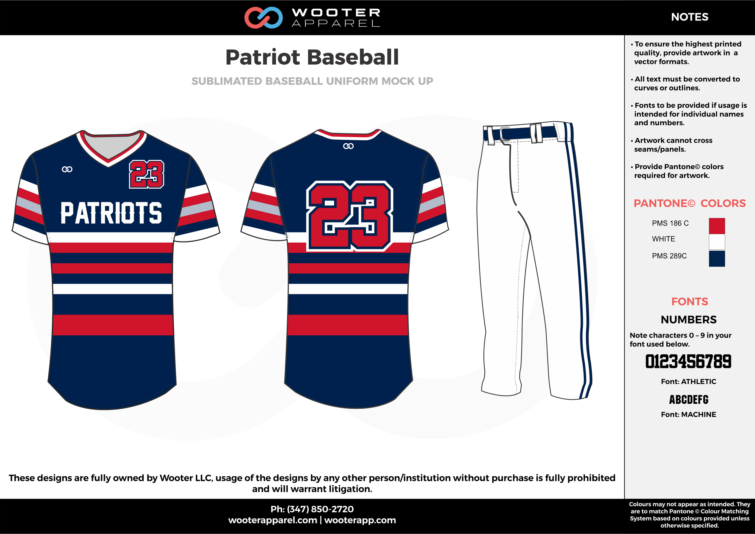 PATRIOT BASEBALL dark blue red white baseball uniforms jerseys pants