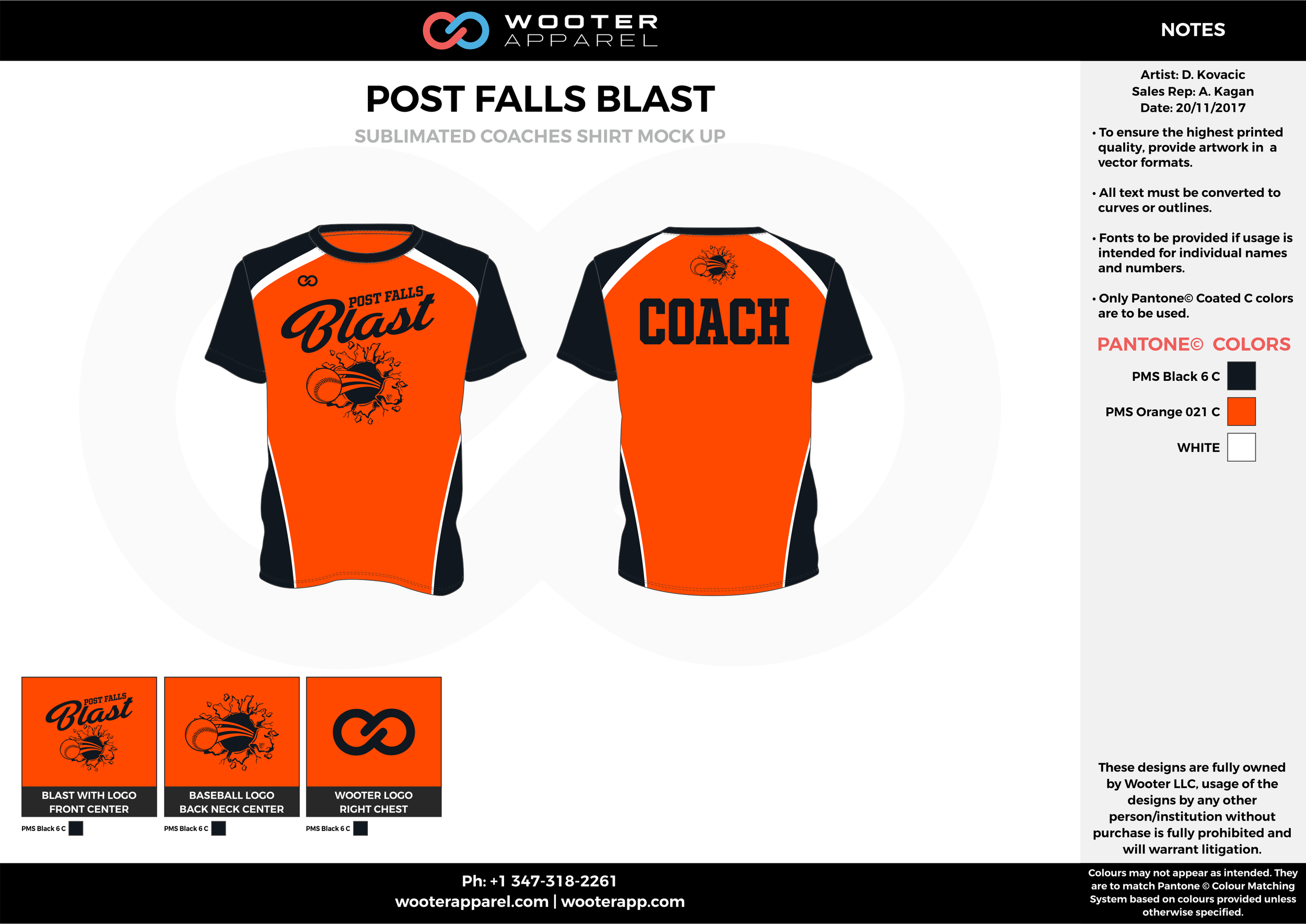 POST FALLS BLAST orange black white baseball uniforms jerseys tops