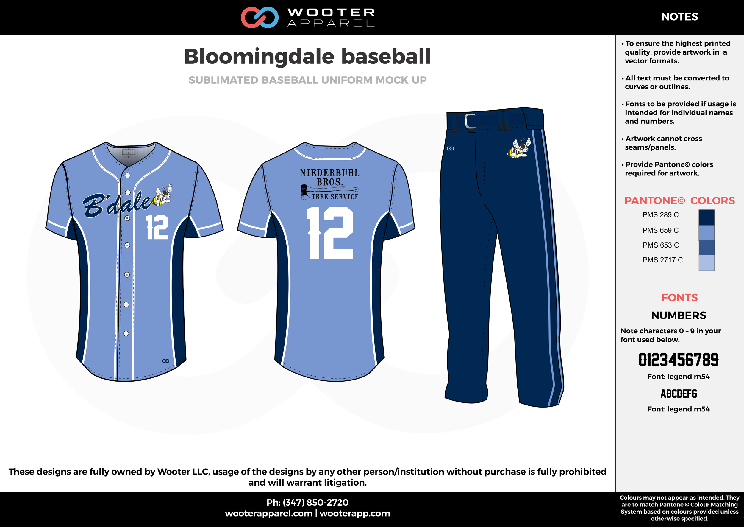 BLOOMINGDALE BASEBALL blue black white baseball uniforms jerseys pants