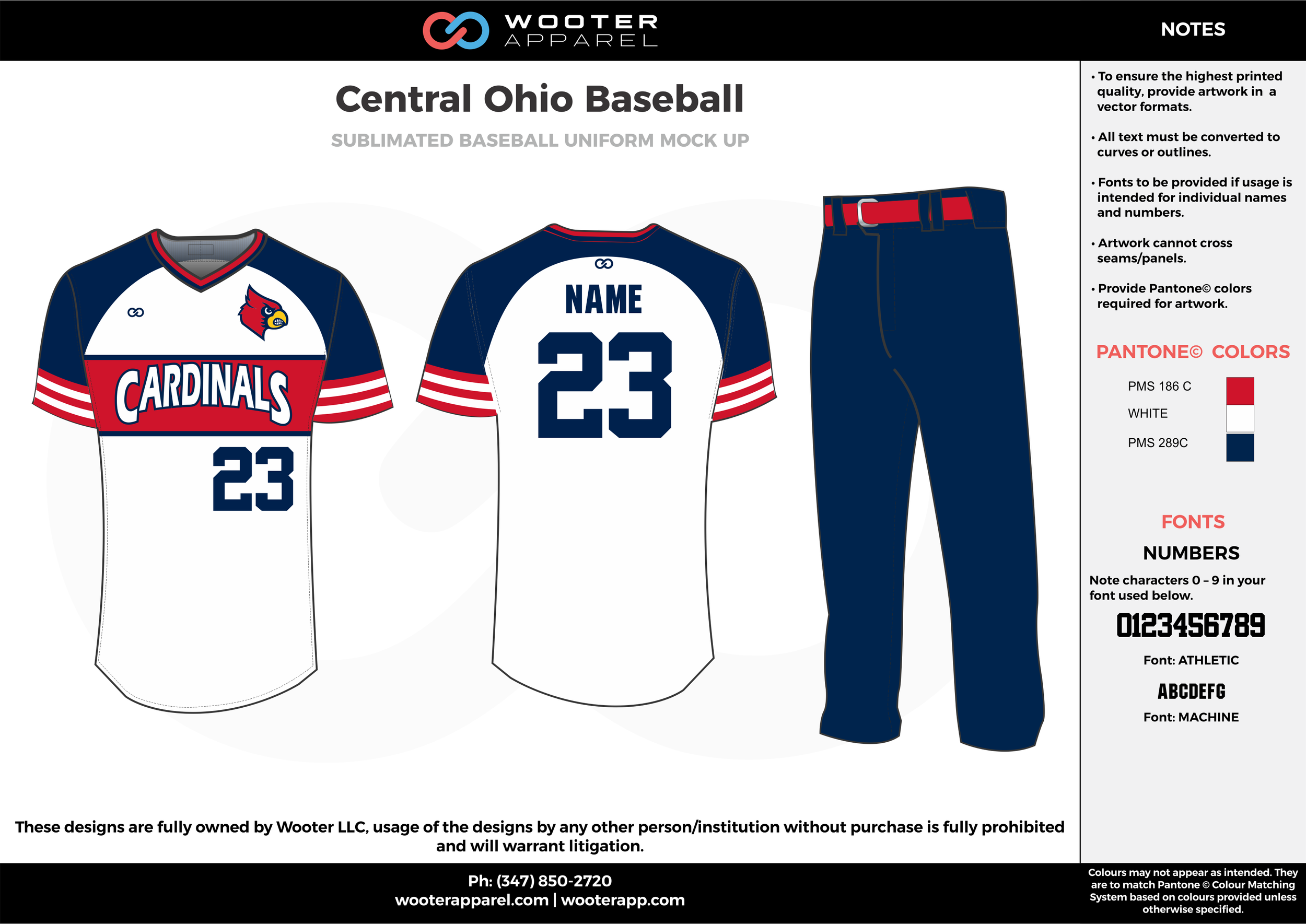 CENTRAL OHIO BASEBALL white dark blue red baseball uniforms jerseys pants