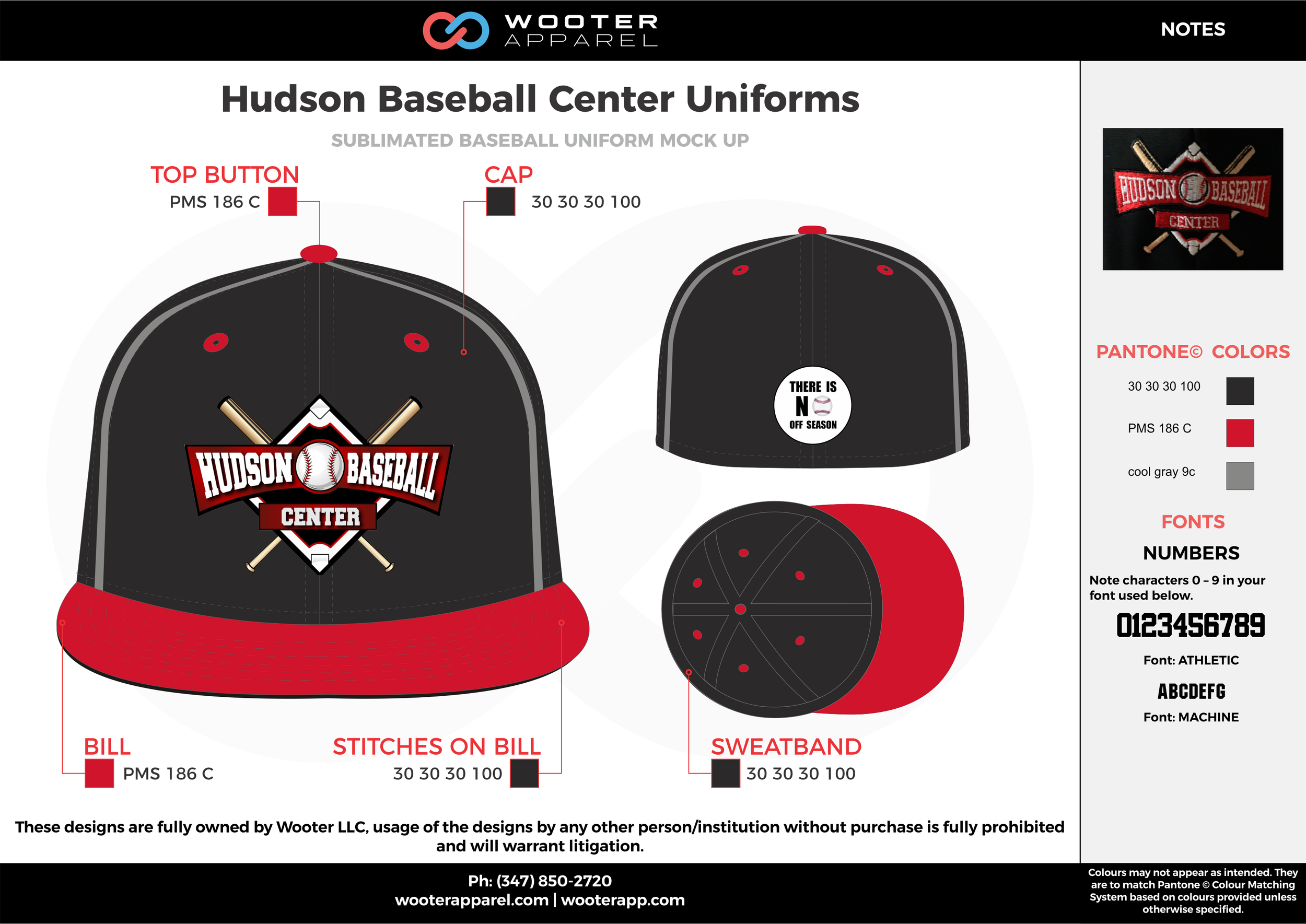 HUDSON BASEBALL CENTER UNIFORMS red black gray baseball uniforms cap