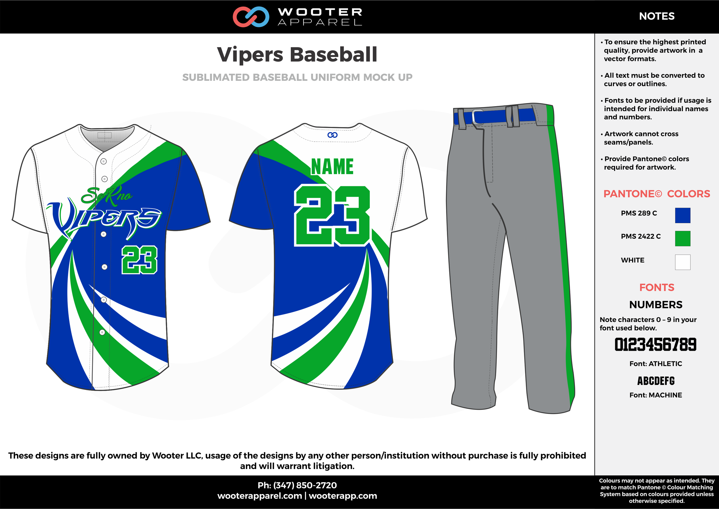 VIPERS BASEBALL green blue white gray baseball uniforms jerseys pants