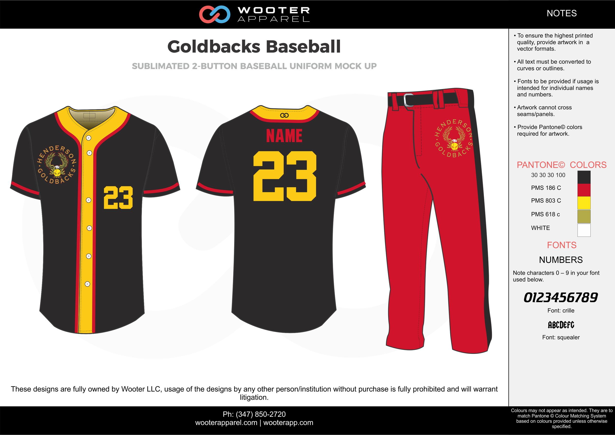 GOLDBACKS BASEBALL black red yellow white baseball uniforms jerseys pants