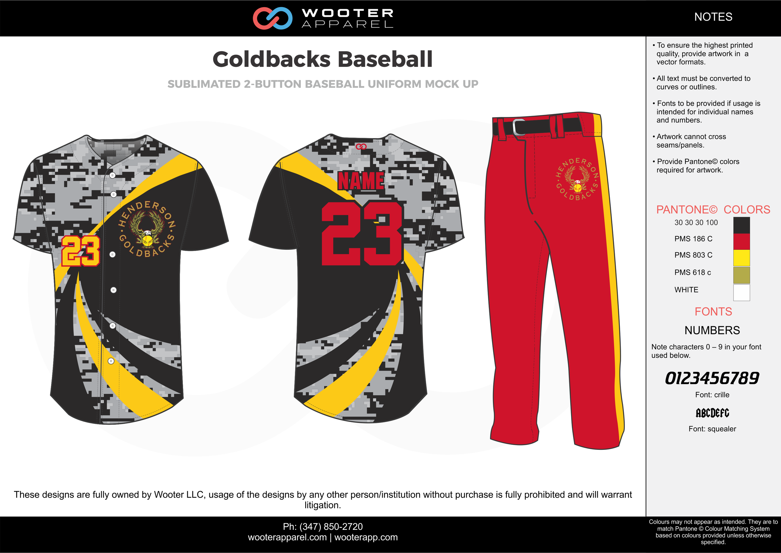 GOLDBACKS BASEBALL black red yellow gray white baseball uniforms jerseys pants