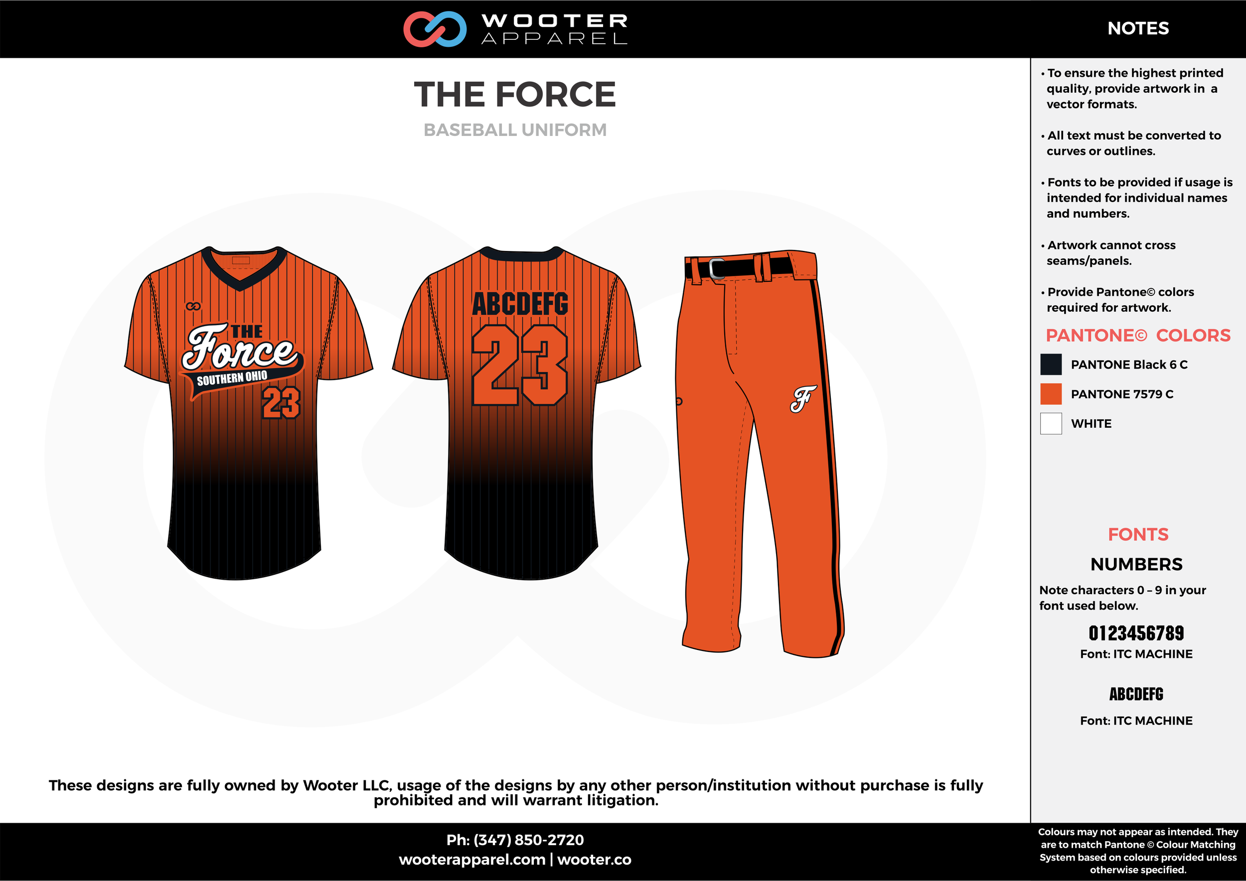 THE FORCE orange black white baseball uniforms jerseys pants