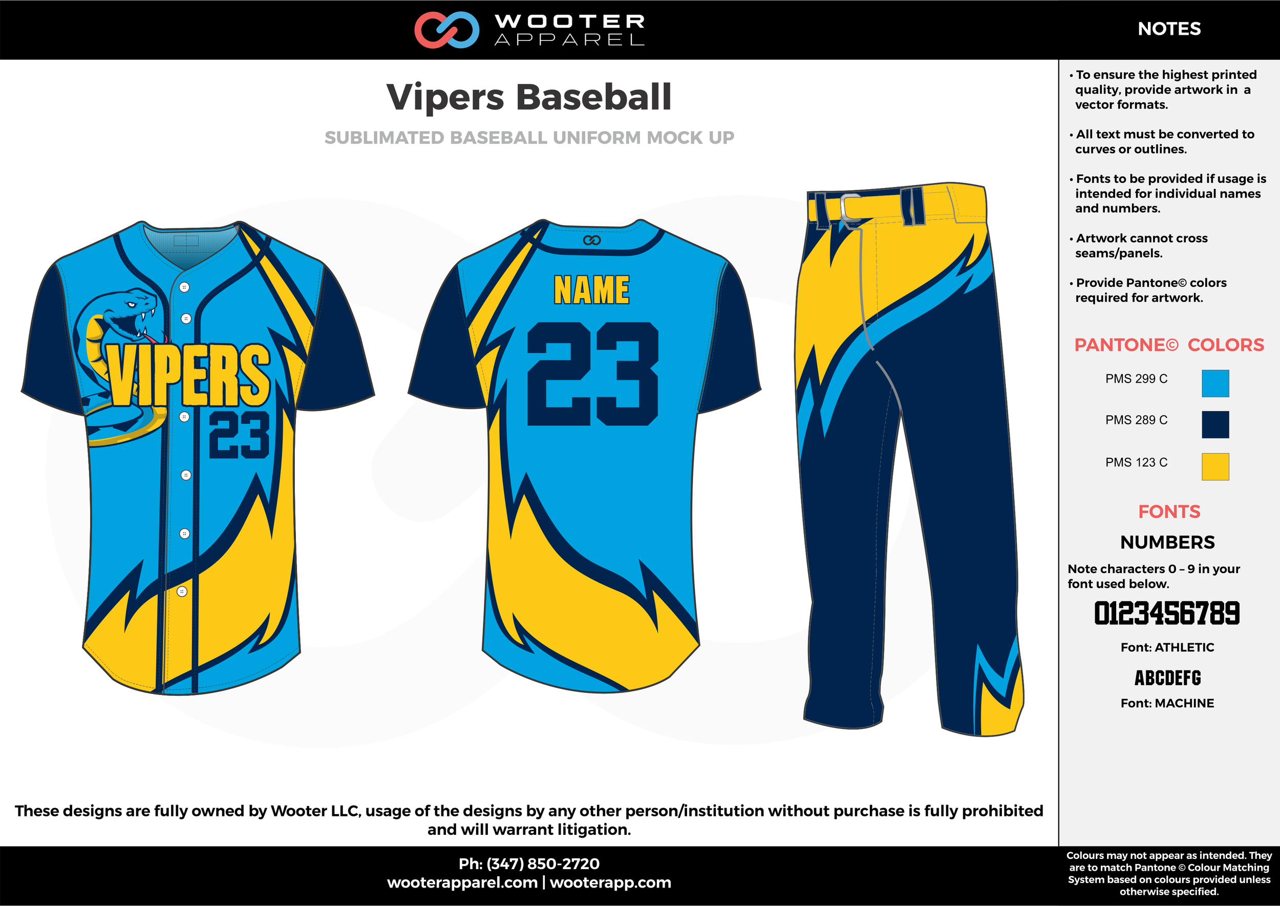VIPERS BASEBALL lightblue darkblue yellow baseball uniforms jerseys pants
