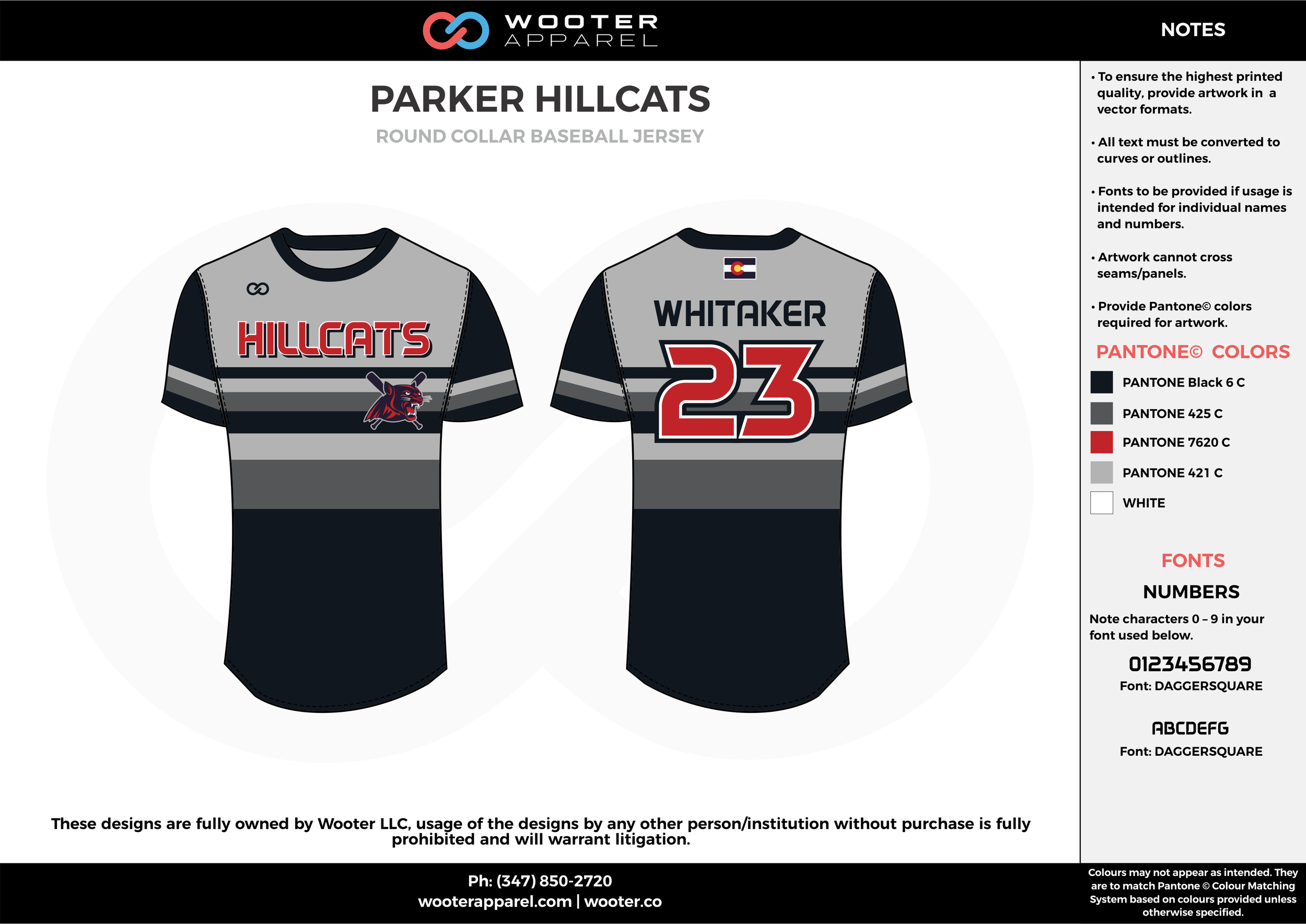 PARKER HILLCATS black gray red white baseball uniforms jerseys tops