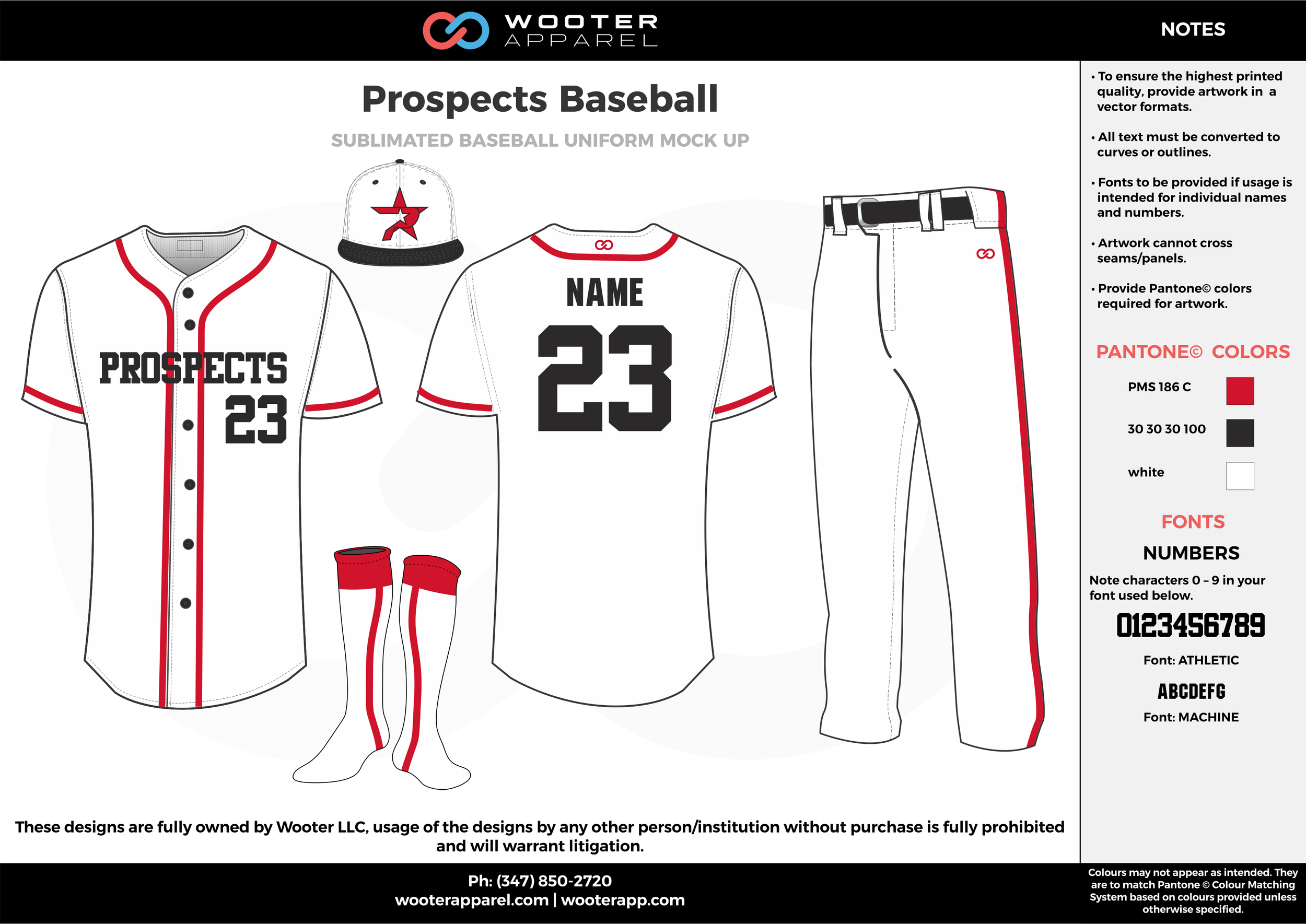 PROSPECTS BASEBALL white red black baseball uniforms jerseys pants