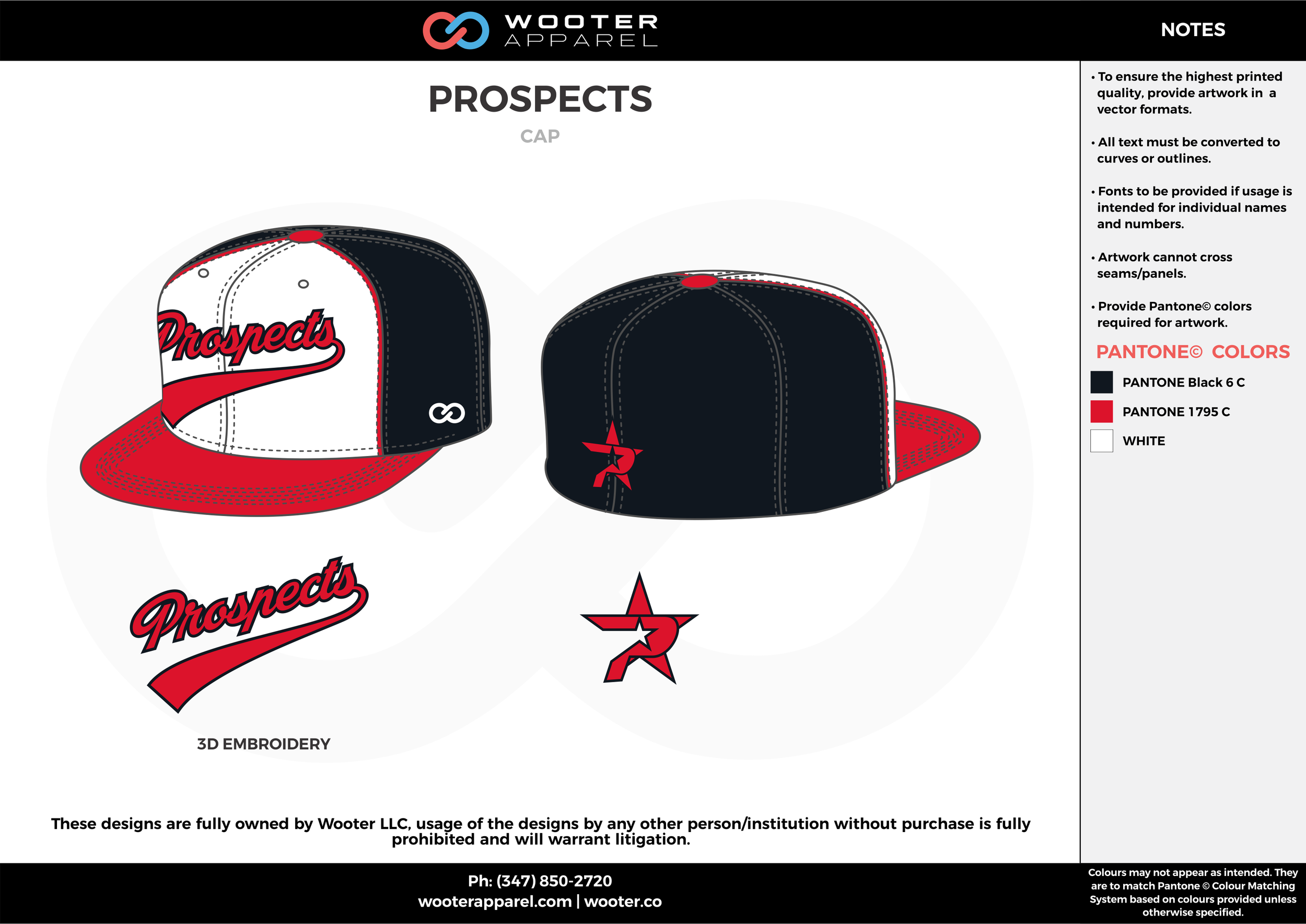 PROSPECTS black red white baseball uniforms caps