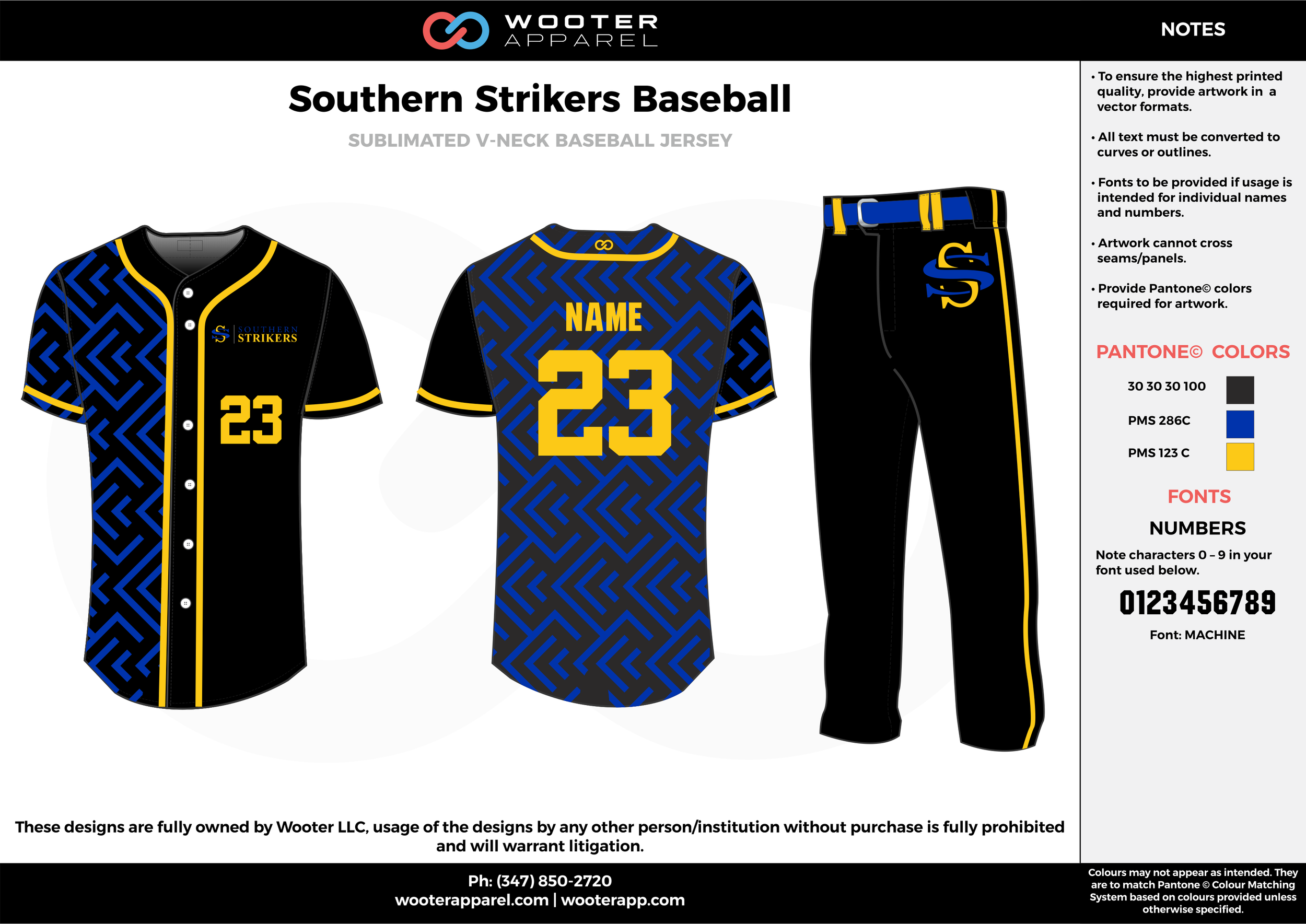 SOUTHERN STRIKERS BASEBALL black blue yellow baseball uniforms jerseys pants
