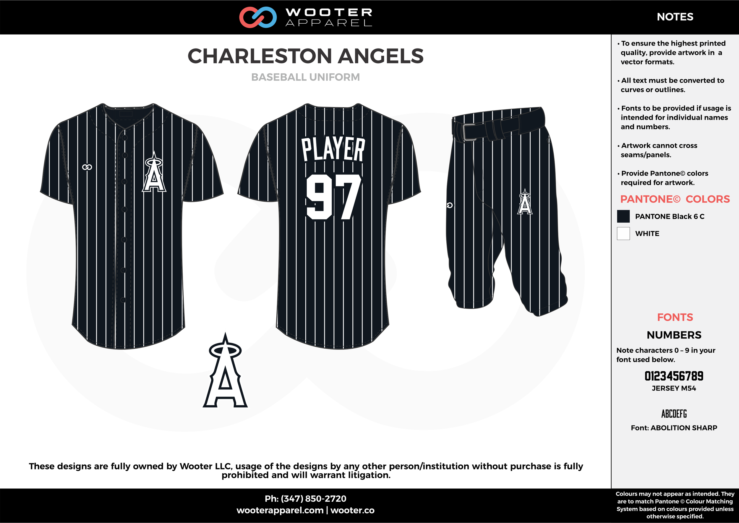 CHARLESTON ANGELS black white baseball uniforms jerseys pants