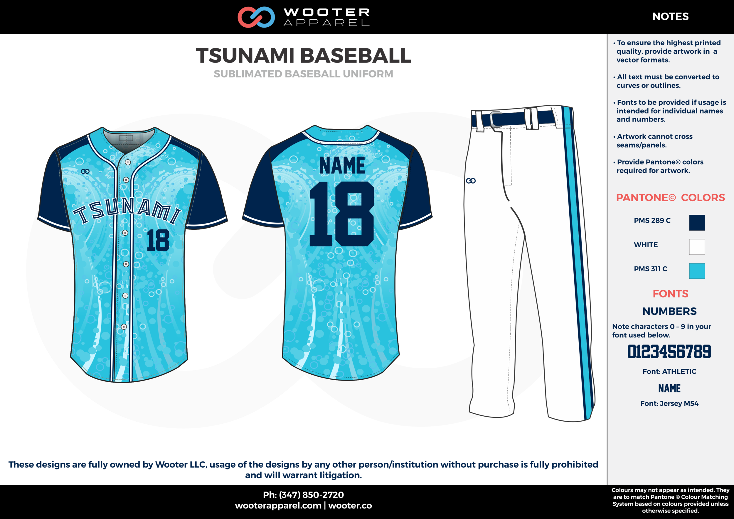 TSUNAMI BASEBALL light blue white dark blue baseball uniforms jerseys pants