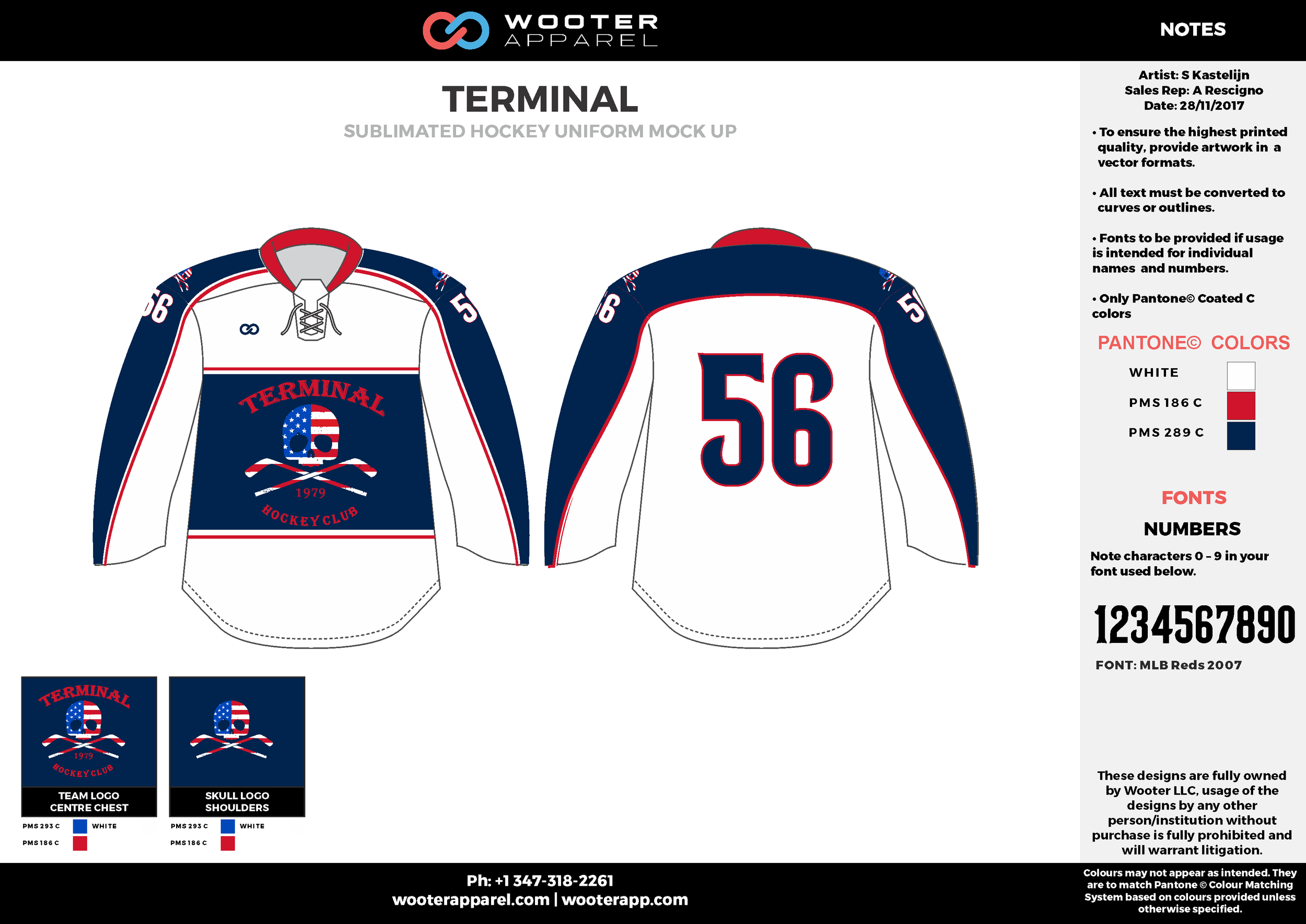TERMINAL blue red white hockey uniforms jerseys