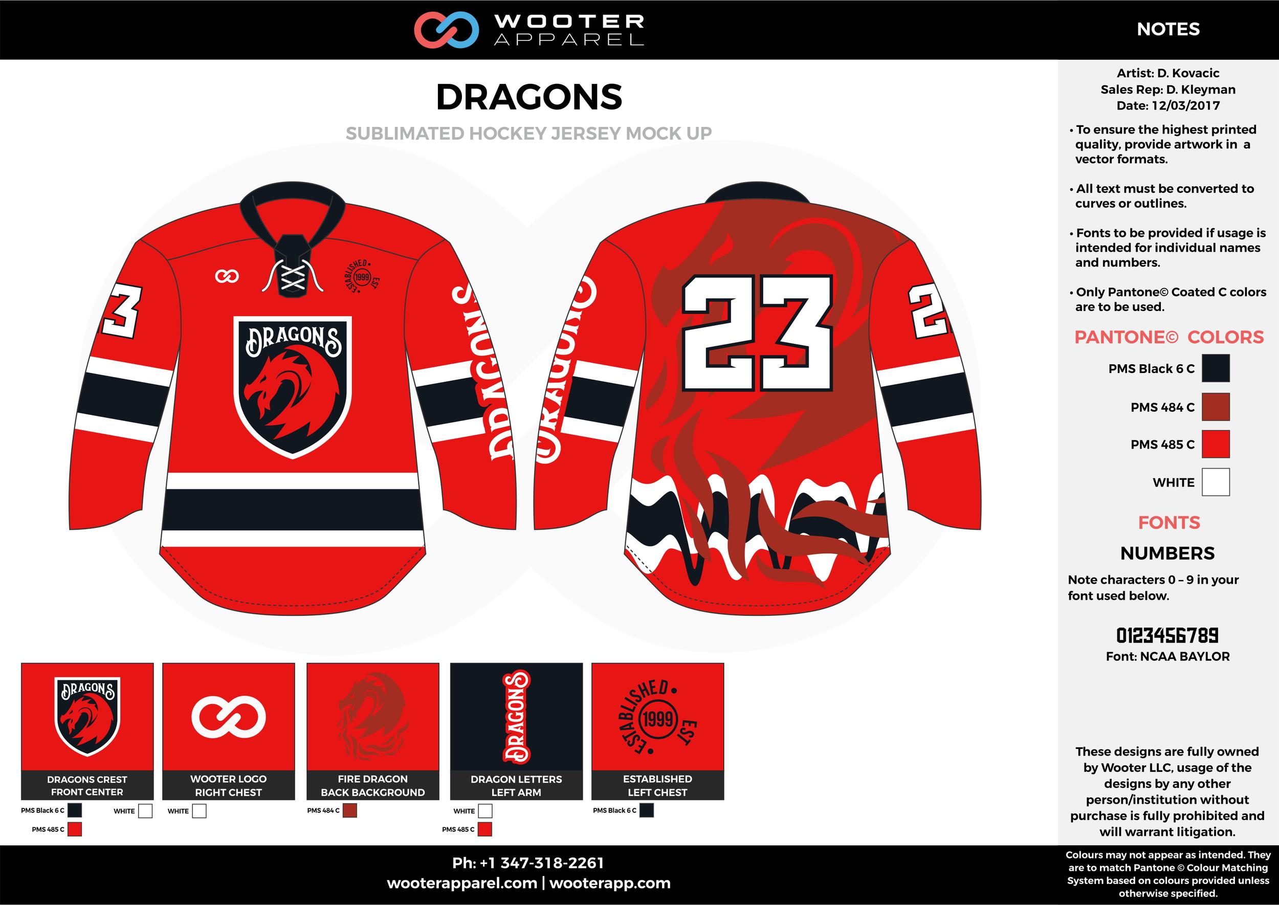 DRAGONS red black white hockey uniforms jerseys