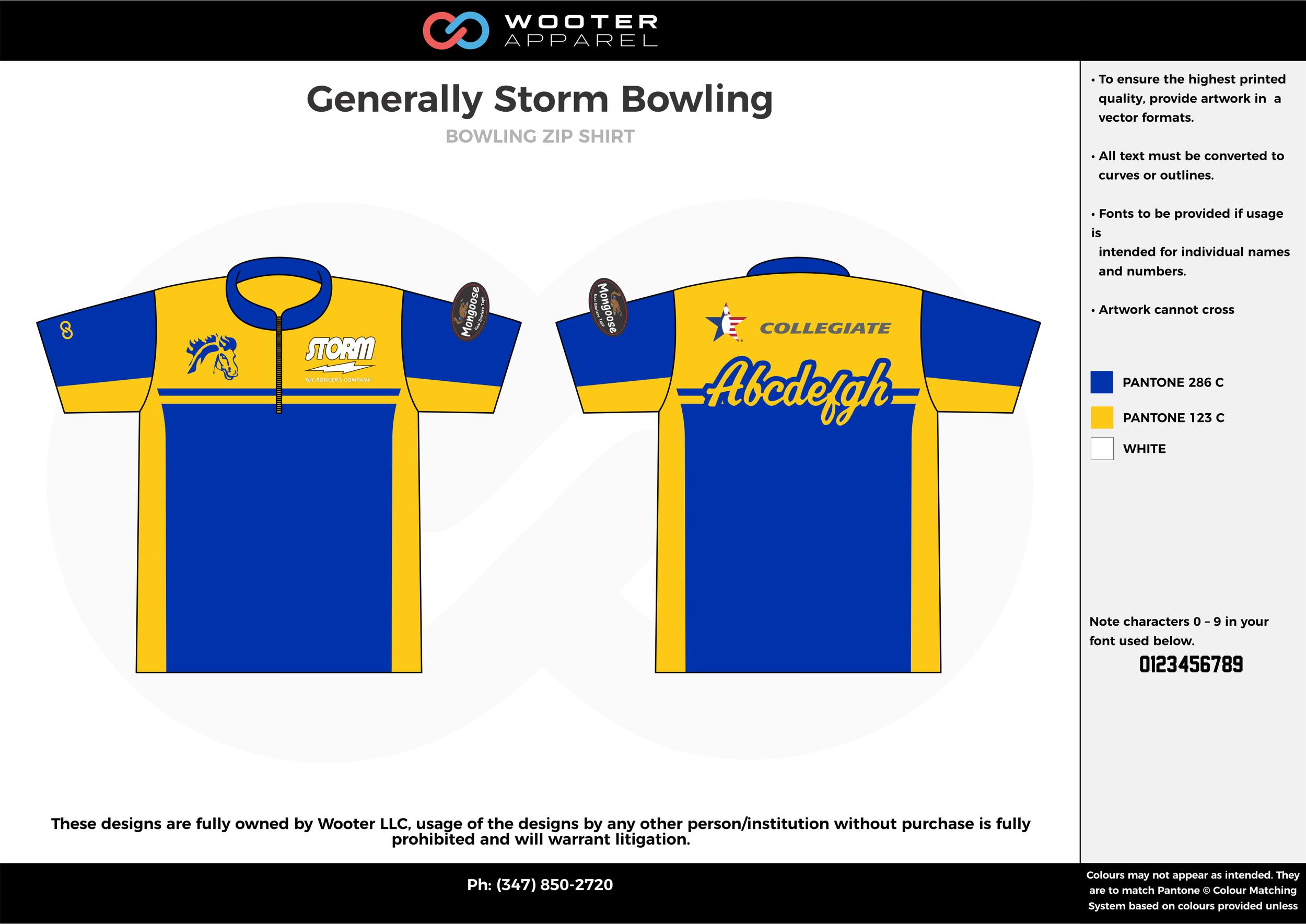 Generally Storm Bowling blue yellow white bowling uniforms, shirts, quarter zip polo